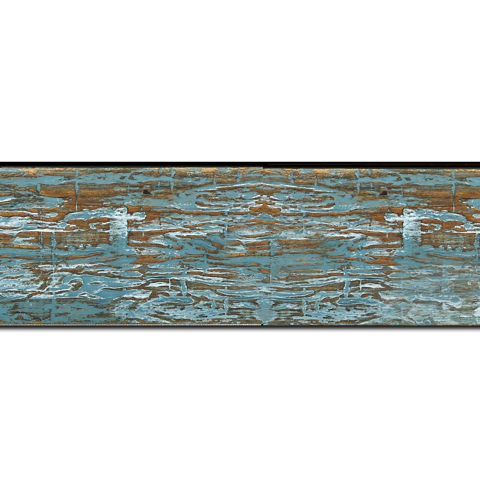 Baguette longueur 1.40m bois profil plat largeur 5cm couleur bleu turquoise finition bois brut aspect palette