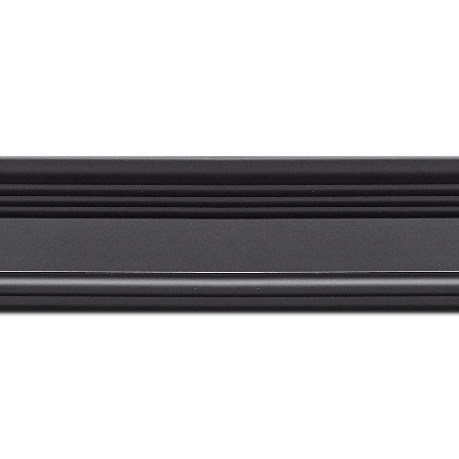 Pack par 12m, bois profil braque largeur 5.2cm noir mat finition pore bouché(longueur baguette pouvant varier entre 2.40m et 3m selon arrivage des bois)