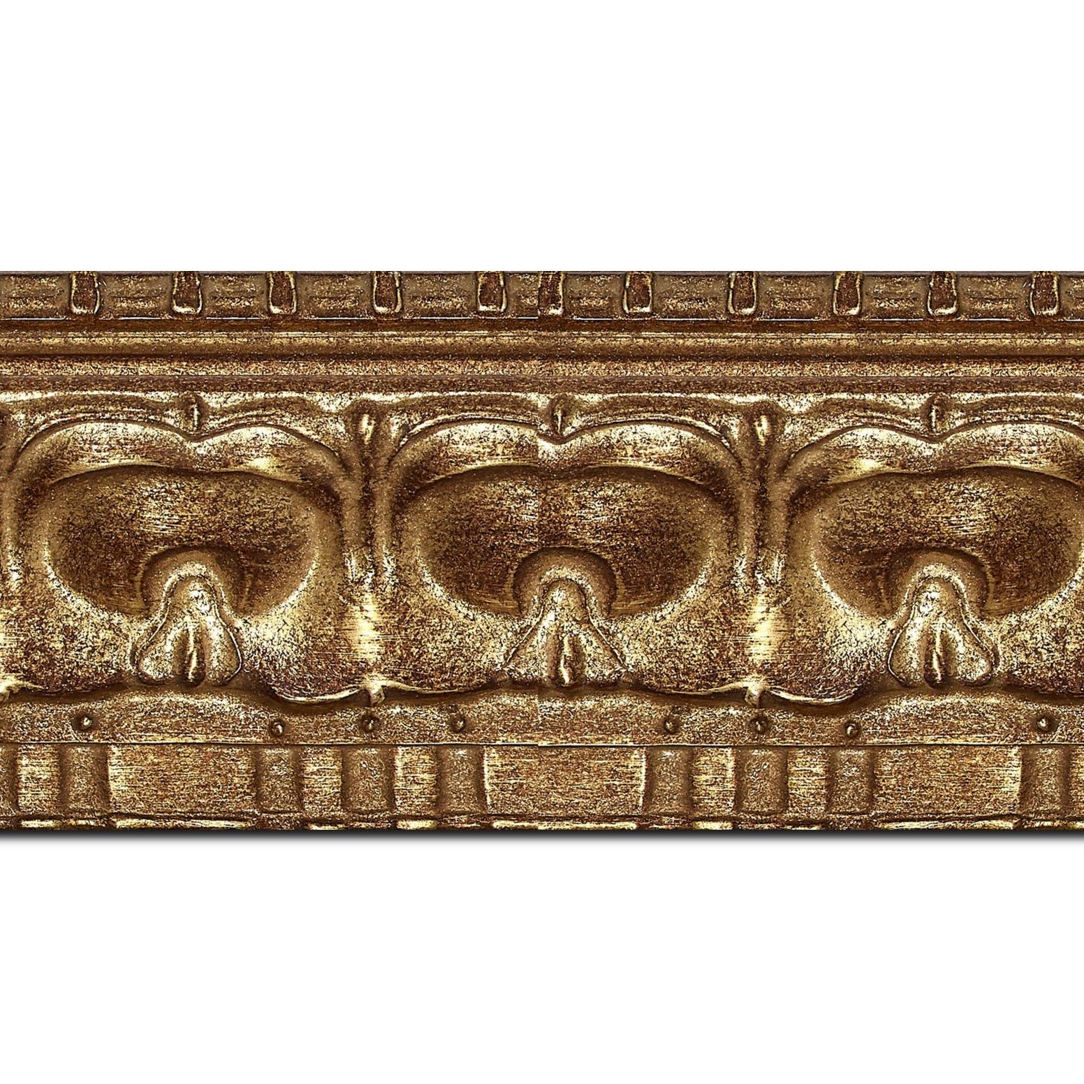 Pack par 12m, bois profil incurvé largeur 8.5cm or antique classique(longueur baguette pouvant varier entre 2.40m et 3m selon arrivage des bois)