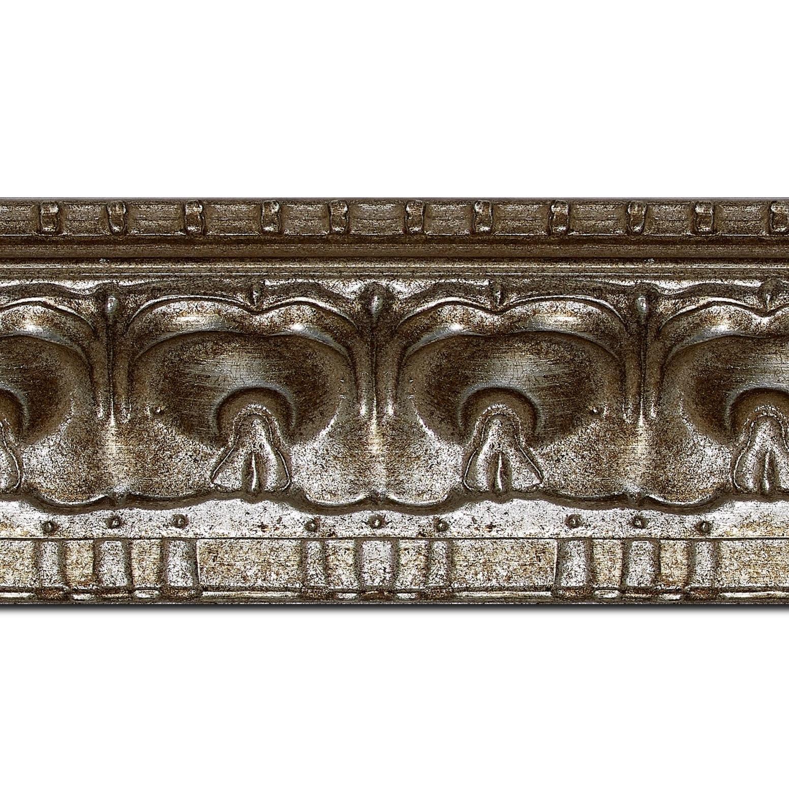 Baguette longueur 1.40m bois profil incurvé largeur 8.5cm argent chaud antique classique