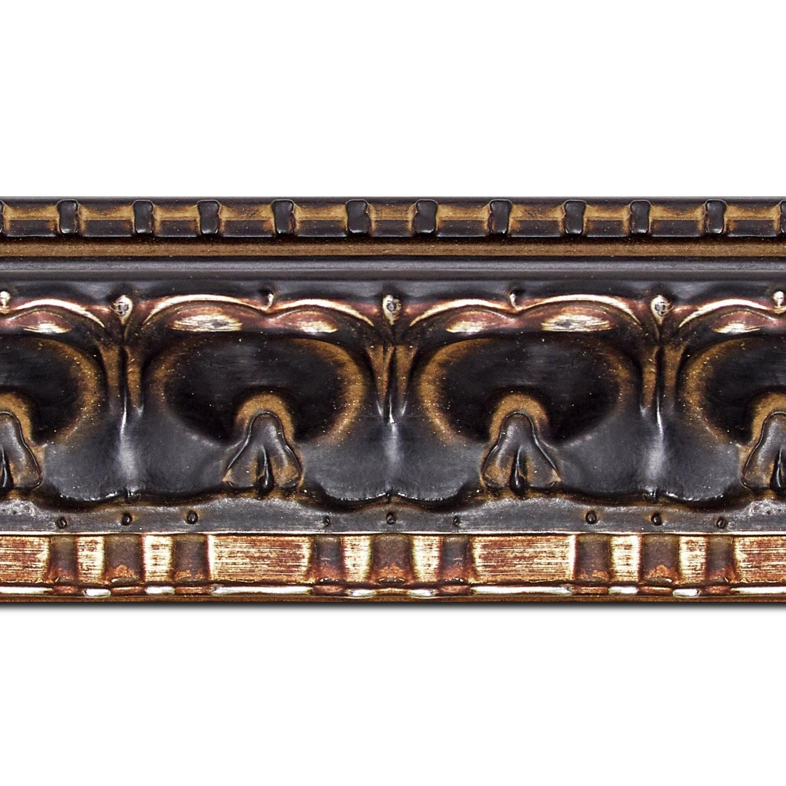 Baguette longueur 1.40m bois profil incurvé largeur 8.5cm noir antique classique nez vermeille noirci