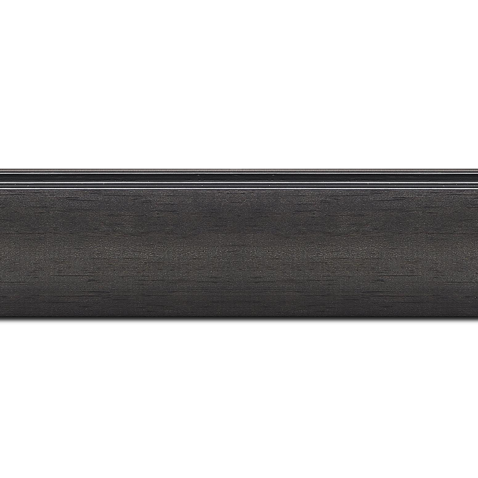Pack par 12m, bois profil en pente méplat largeur 4.8cm couleur anthracite satiné surligné par une gorge extérieure noire : originalité et élégance assurée (longueur baguette pouvant varier entre 2.40m et 3m selon arrivage des bois)
