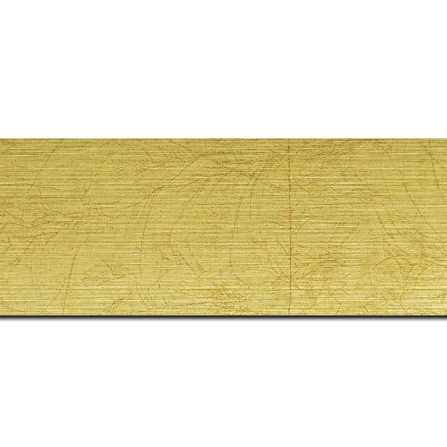 Baguette longueur 1.40m bois profil plat largeur 5.9cm or effet marbré