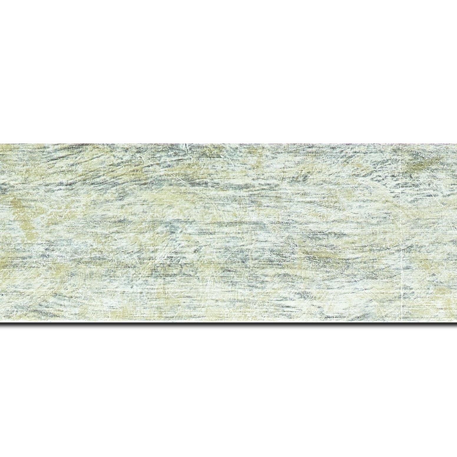 Baguette longueur 1.40m bois profil plat largeur 5.9cm argent effet marbré