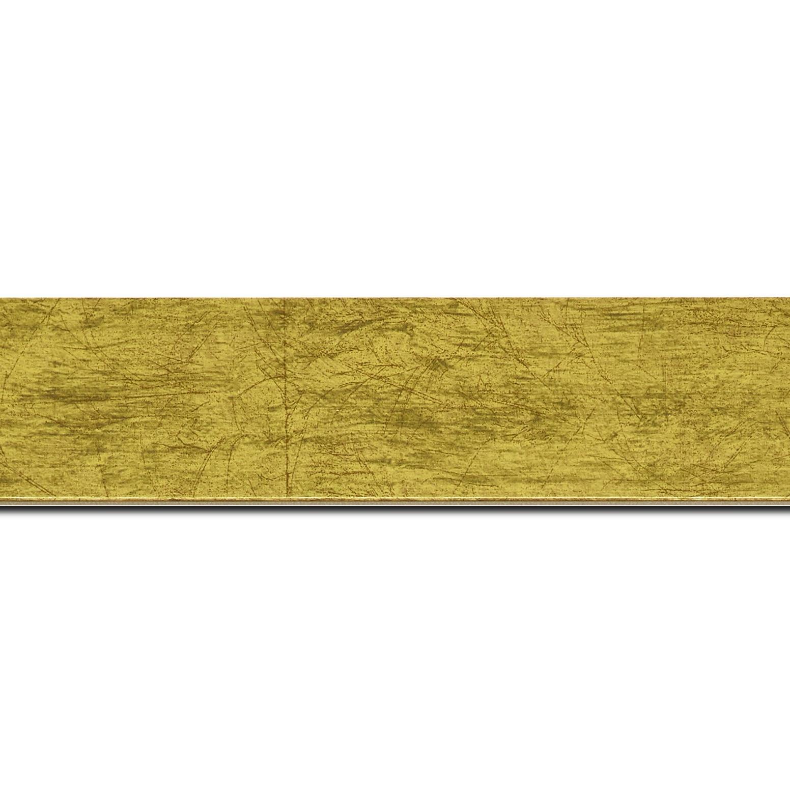 Pack par 12m, bois profil plat largeur 4cm or effet marbré(longueur baguette pouvant varier entre 2.40m et 3m selon arrivage des bois)