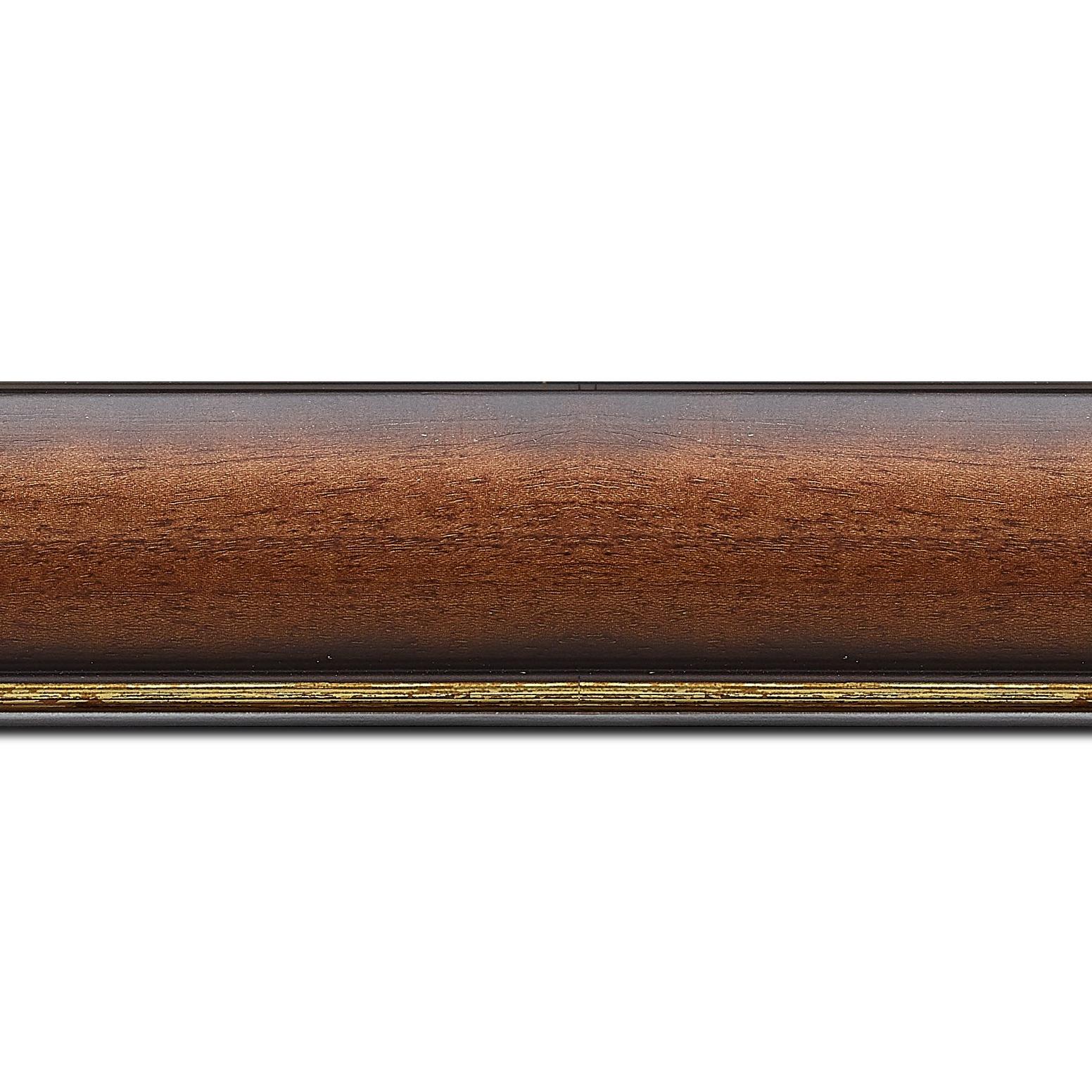 Baguette longueur 1.40m bois profil arrondi largeur 4.7cm couleur marron rustique filet or