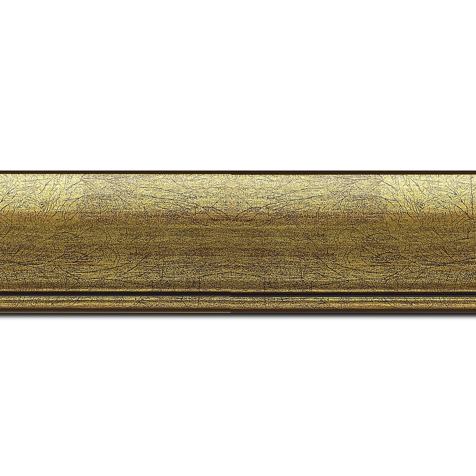 Pack par 12m, bois profil arrondi largeur 4.7cm or rehaussé d'un filet noir(longueur baguette pouvant varier entre 2.40m et 3m selon arrivage des bois)
