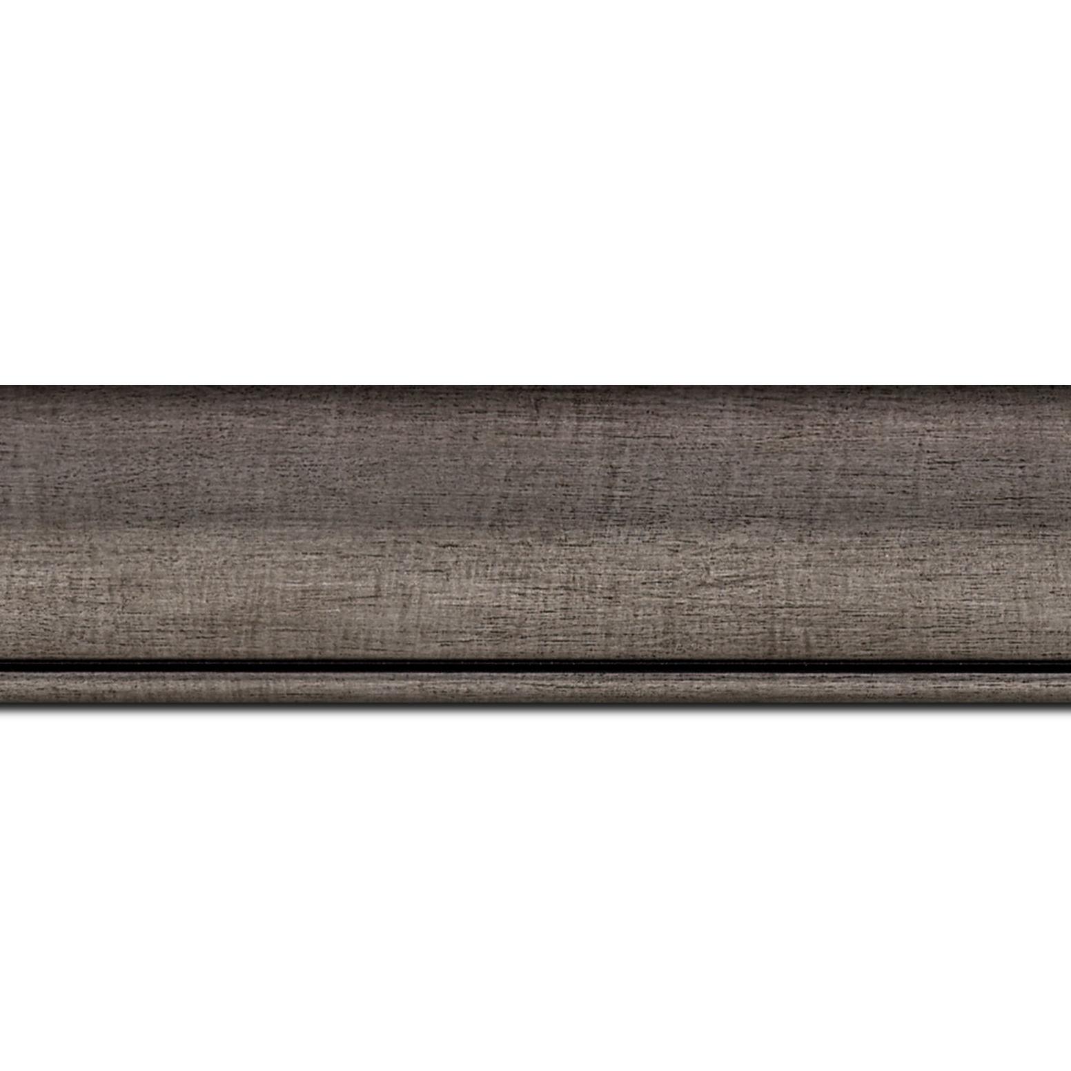 Pack par 12m, bois profil arrondi largeur 4.7cm couleur plomb rehaussé d'un filet noir(longueur baguette pouvant varier entre 2.40m et 3m selon arrivage des bois)