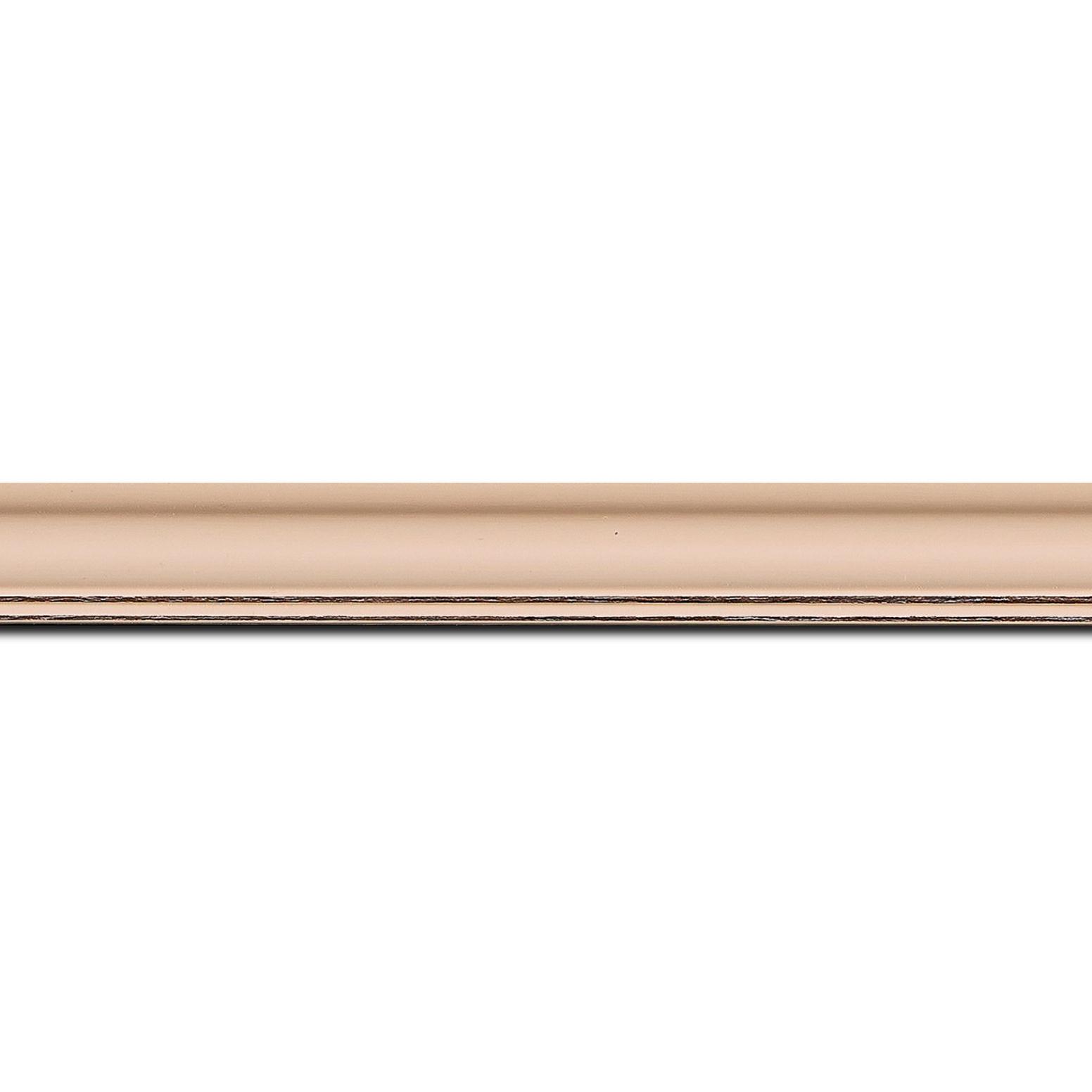 Baguette longueur 1.40m bois profil doucine inversée largeur 2.3cm rose tendre satiné bord ressuyé