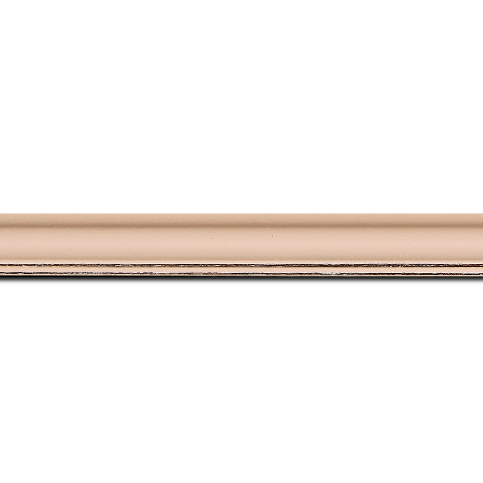 Pack par 12m, bois profil doucine inversée largeur 2.3cm rose tendre satiné bord ressuyé(longueur baguette pouvant varier entre 2.40m et 3m selon arrivage des bois)
