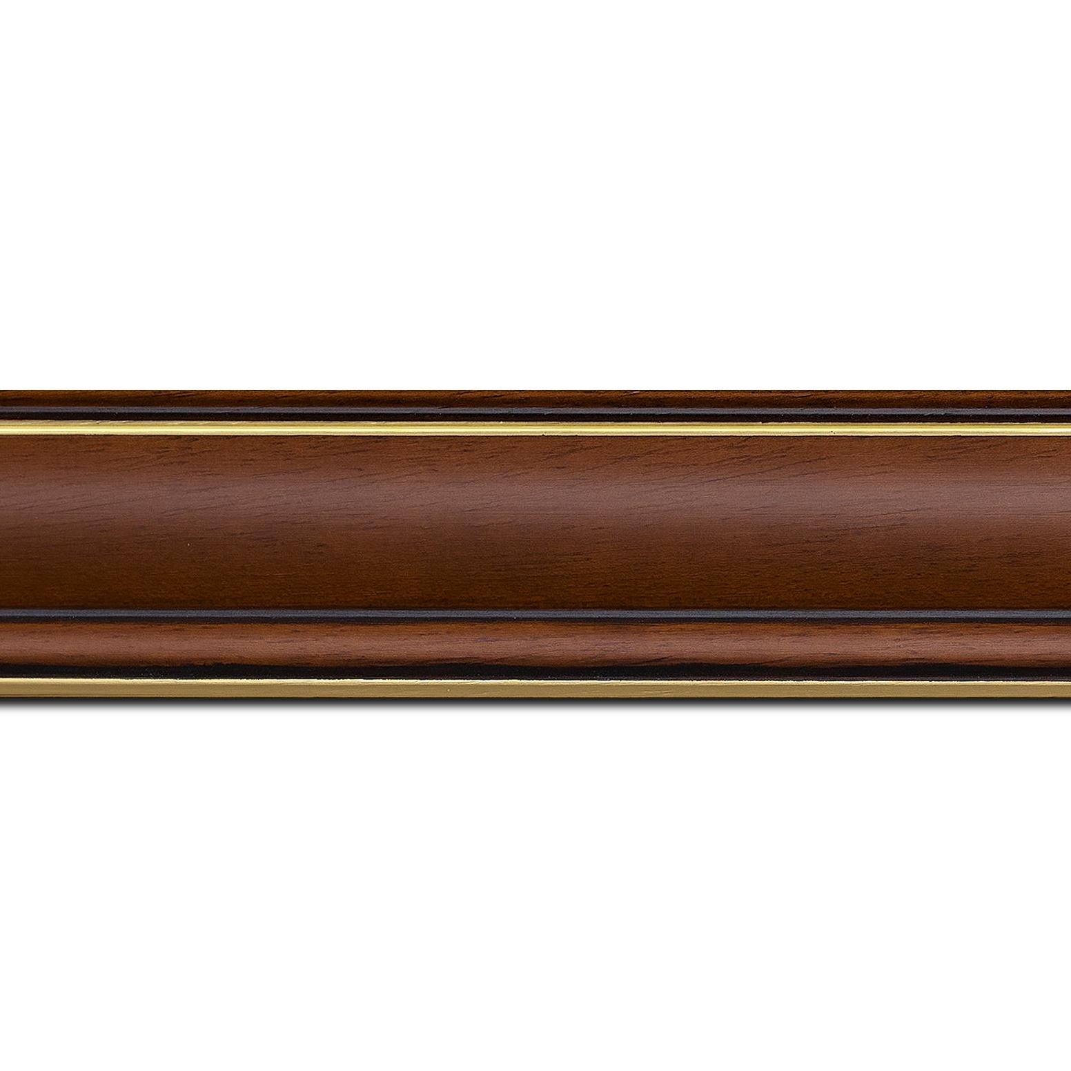 Pack par 12m, bois profil doucine inversée largeur 4.4cm  marron rustique filet or(longueur baguette pouvant varier entre 2.40m et 3m selon arrivage des bois)