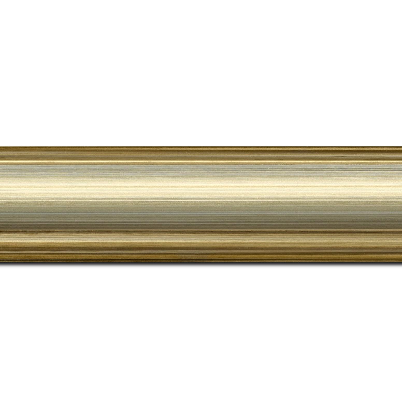 Pack par 12m, bois profil doucine inversée largeur 4.4cm or gorge champagne(longueur baguette pouvant varier entre 2.40m et 3m selon arrivage des bois)