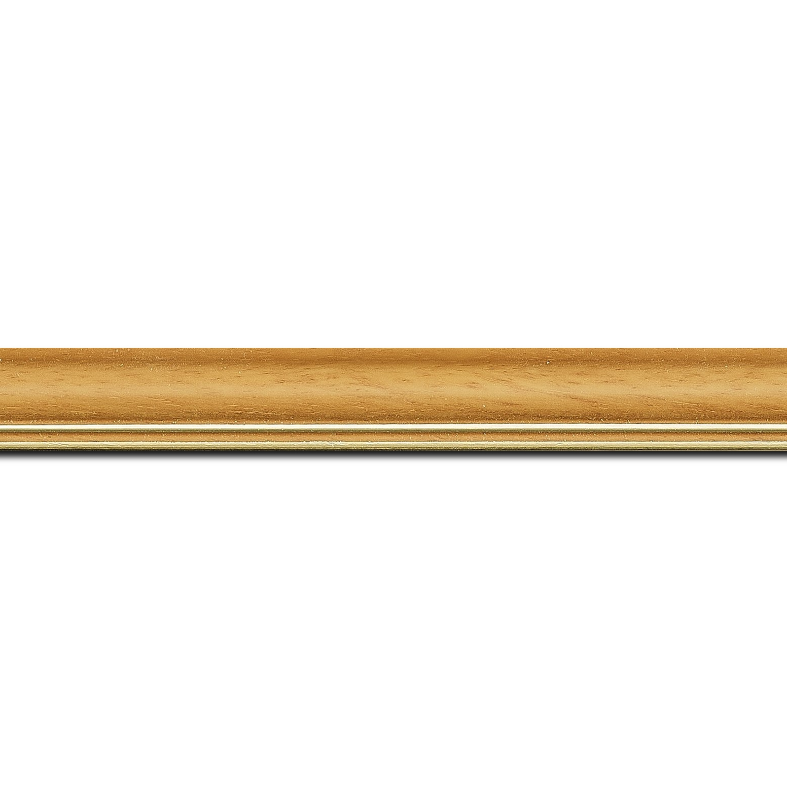 Baguette longueur 1.40m bois profil doucine inversée largeur 2.3cm jaune tournesol satiné double filet or