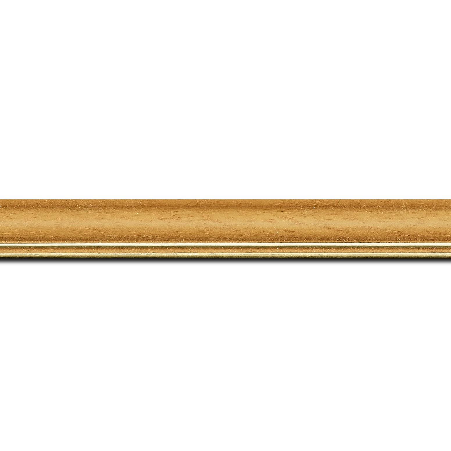 Pack par 12m, bois profil doucine inversée largeur 2.3cm jaune tournesol satiné double filet or (longueur baguette pouvant varier entre 2.40m et 3m selon arrivage des bois)