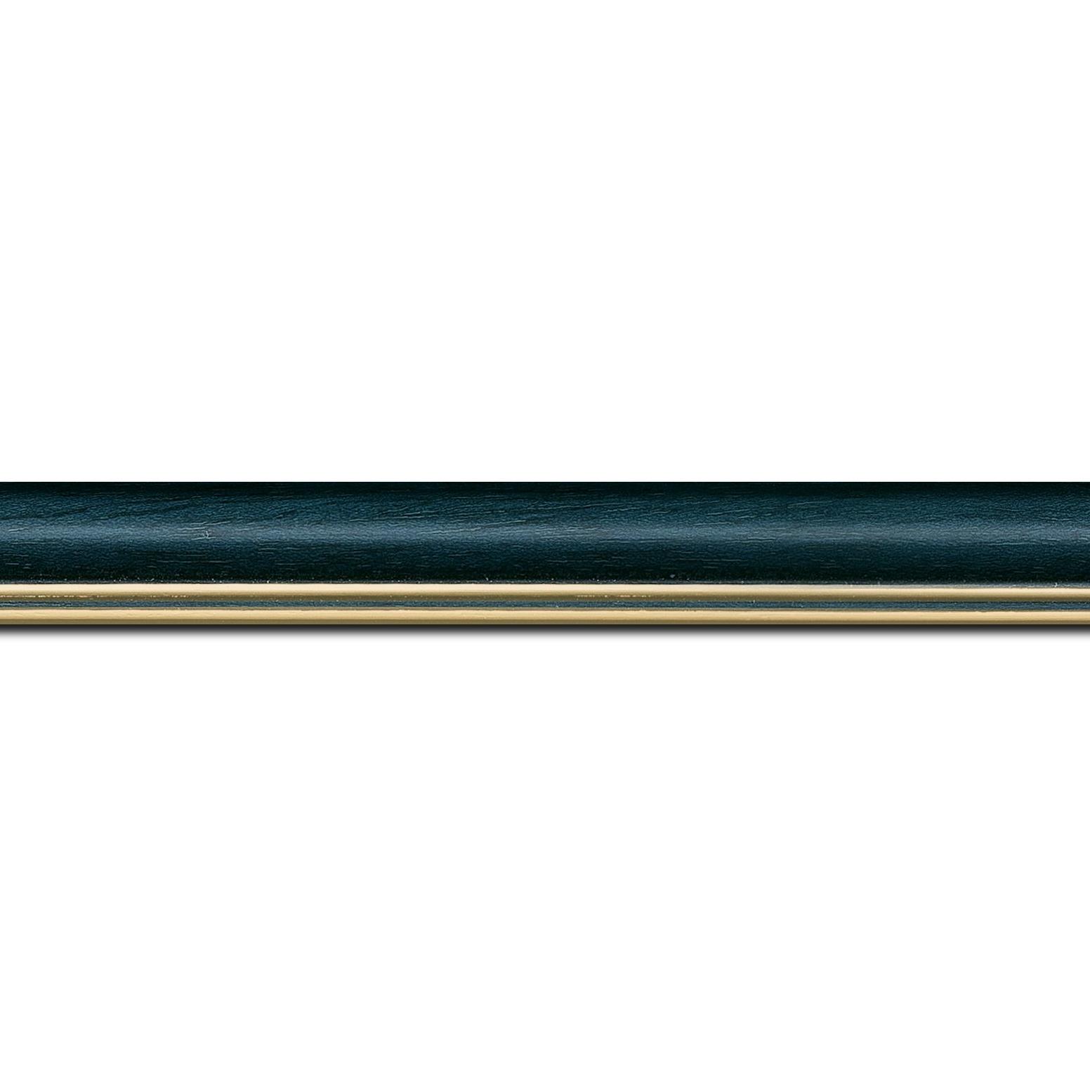 Baguette longueur 1.40m bois profil doucine inversée largeur 2.3cm bleu pétrole satiné double filet or