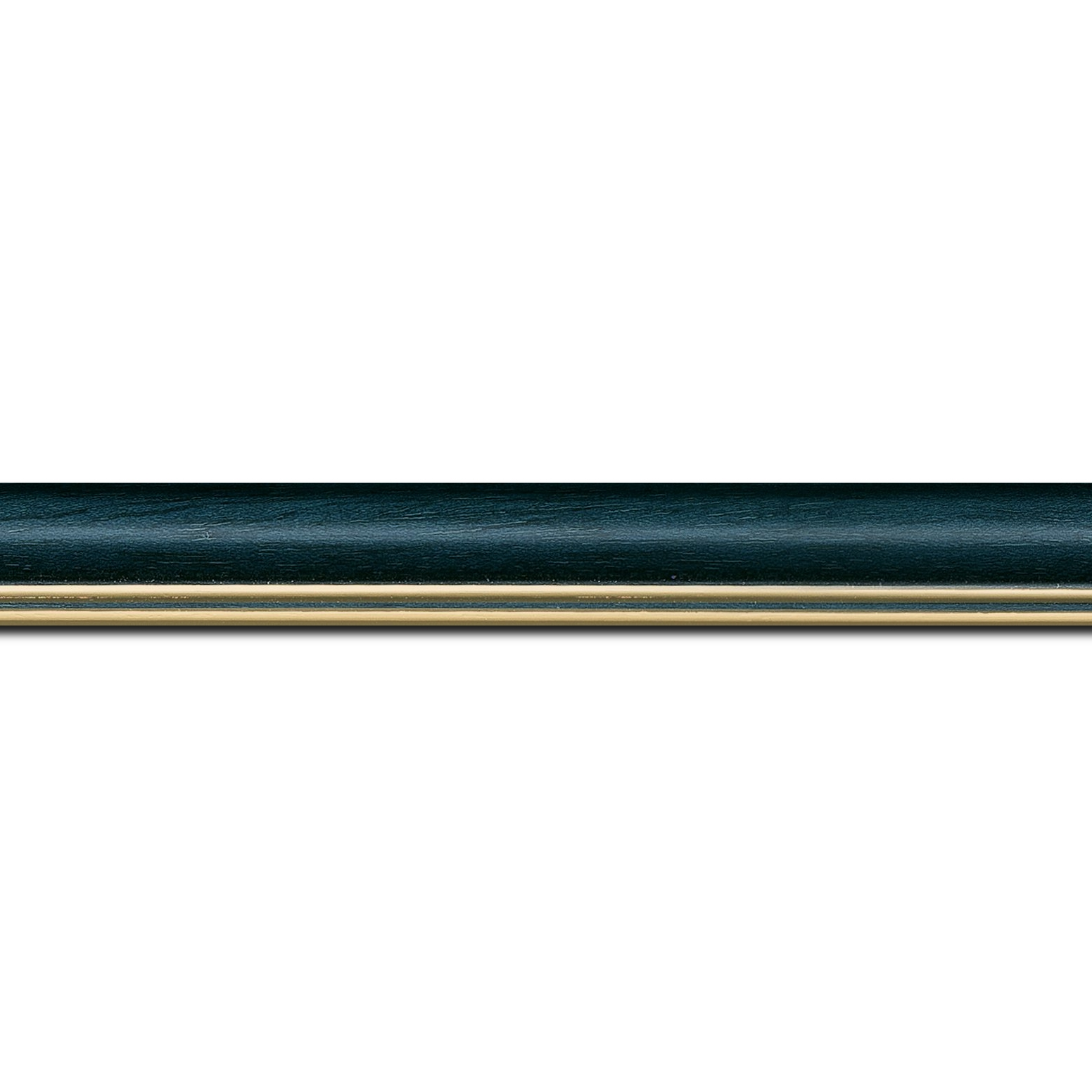 Pack par 12m, bois profil doucine inversée largeur 2.3cm bleu pétrole satiné double filet or (longueur baguette pouvant varier entre 2.40m et 3m selon arrivage des bois)