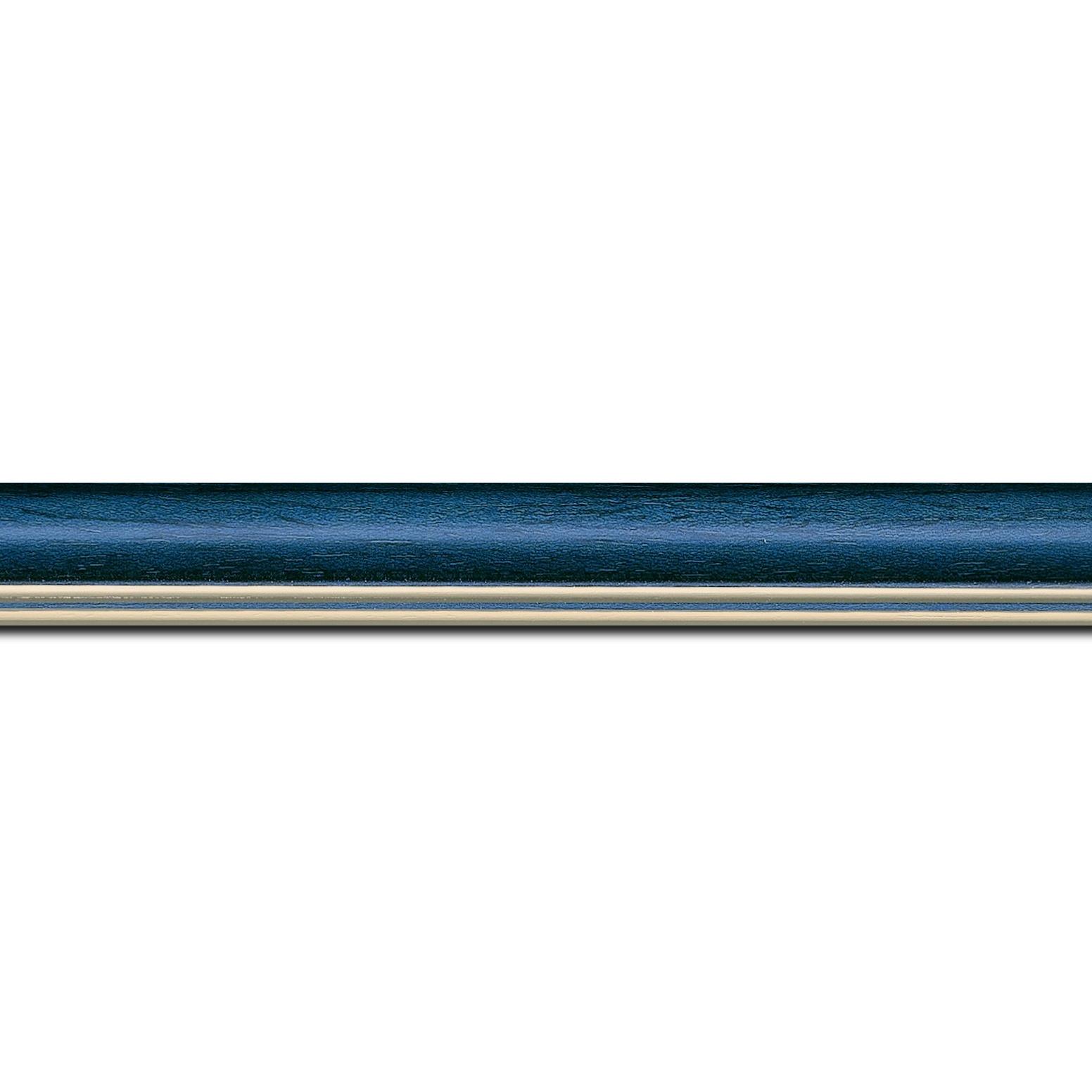 Pack par 12m, bois profil doucine inversée largeur 2.3cm bleu tropical satiné double filet or (longueur baguette pouvant varier entre 2.40m et 3m selon arrivage des bois)
