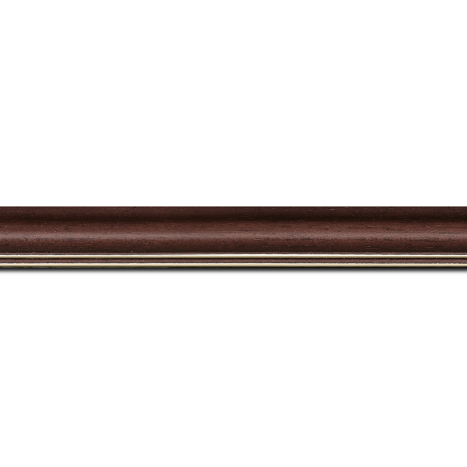Baguette longueur 1.40m bois profil doucine inversée largeur 2.3cm bordeaux satiné double filet or