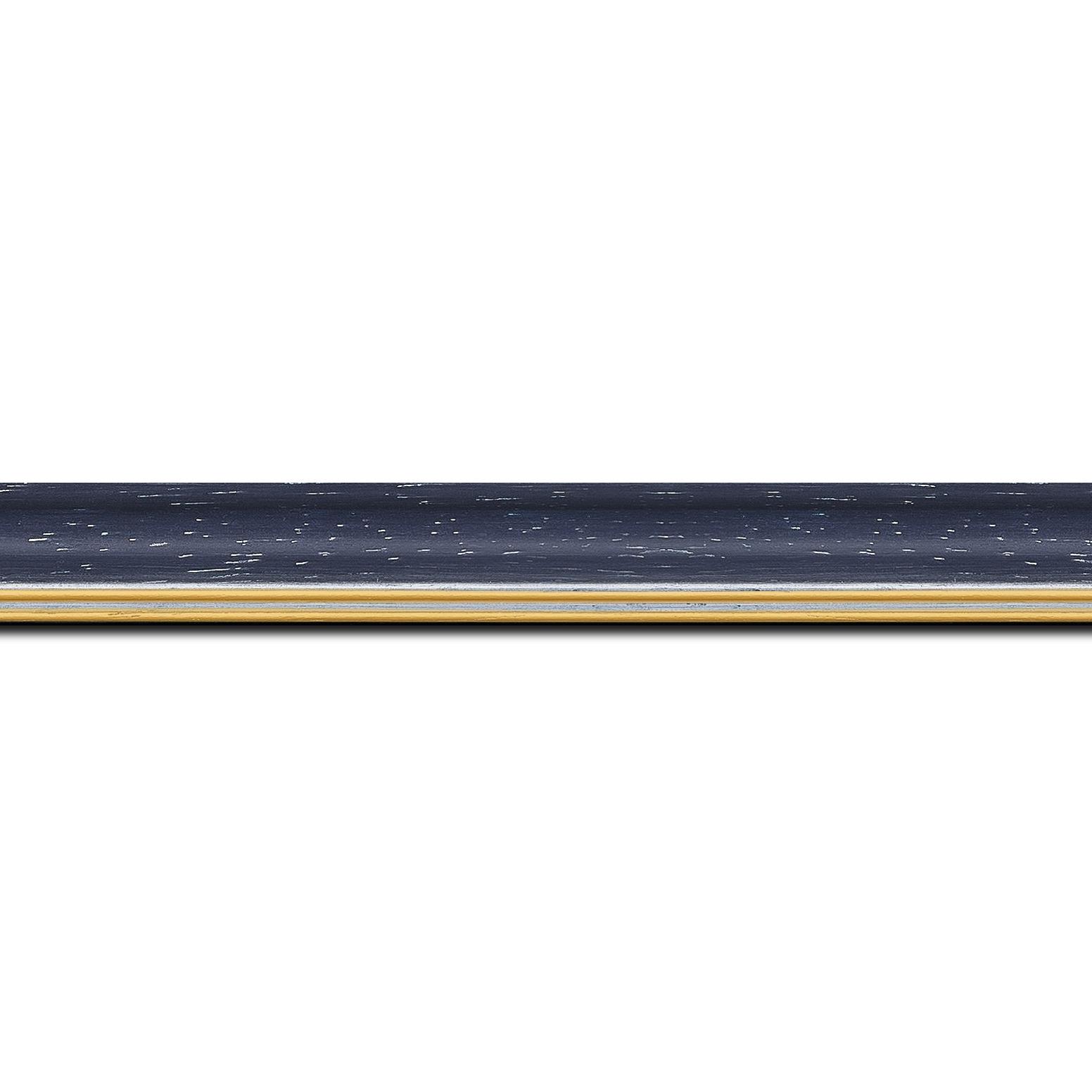 Baguette longueur 1.40m bois profil doucine inversée largeur 2.3cm noir anthracite cérusé double filet or