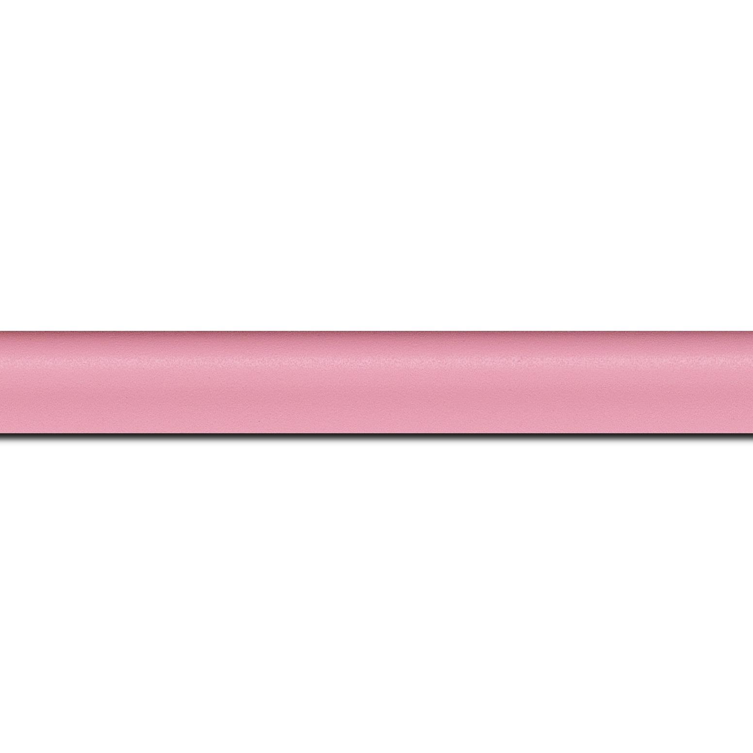 Baguette longueur 1.40m bois profil incurvé largeur 2.1cm couleur rose tendre satiné