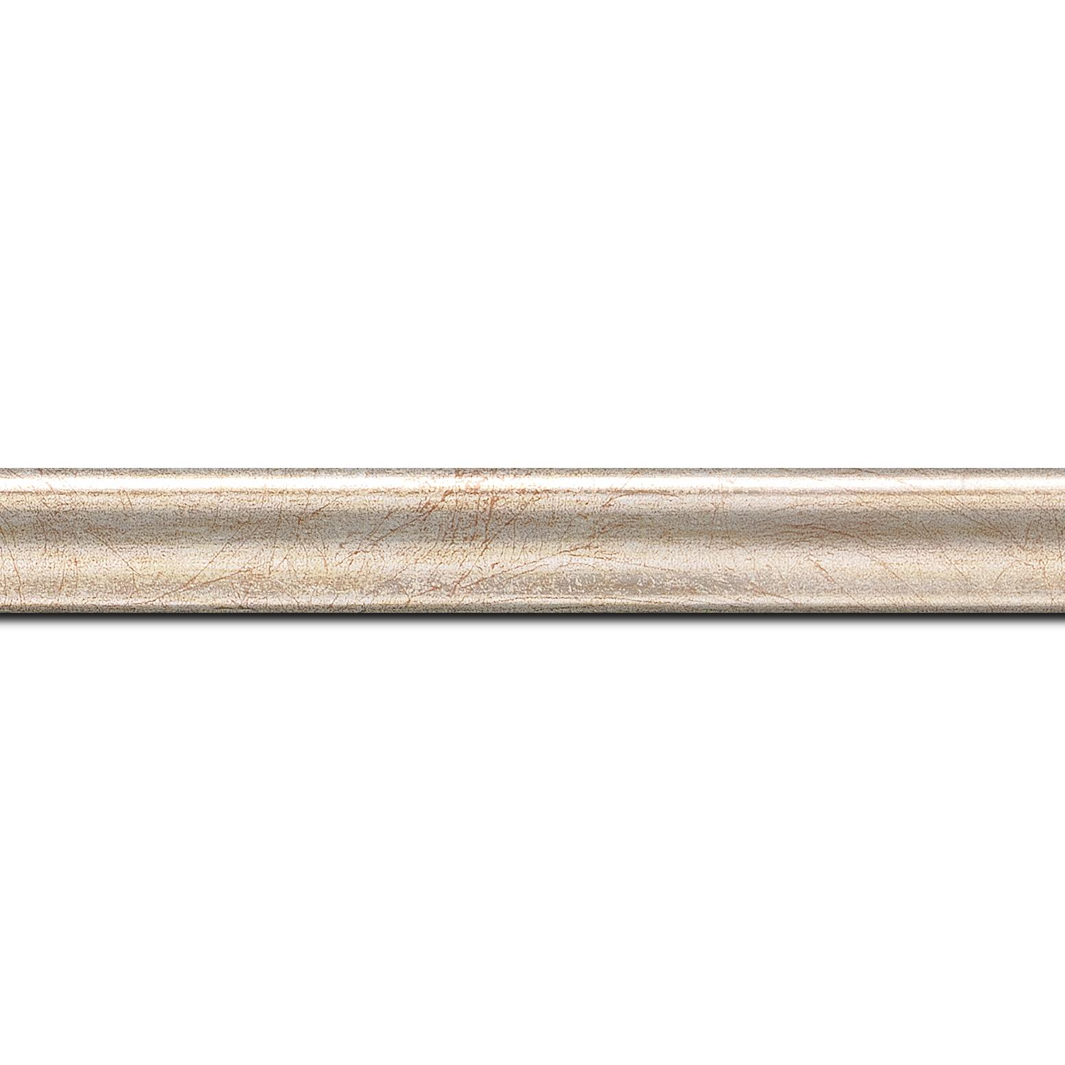 Pack par 12m, bois profil incurvé largeur 2.1cm argent chaud satiné (longueur baguette pouvant varier entre 2.40m et 3m selon arrivage des bois)