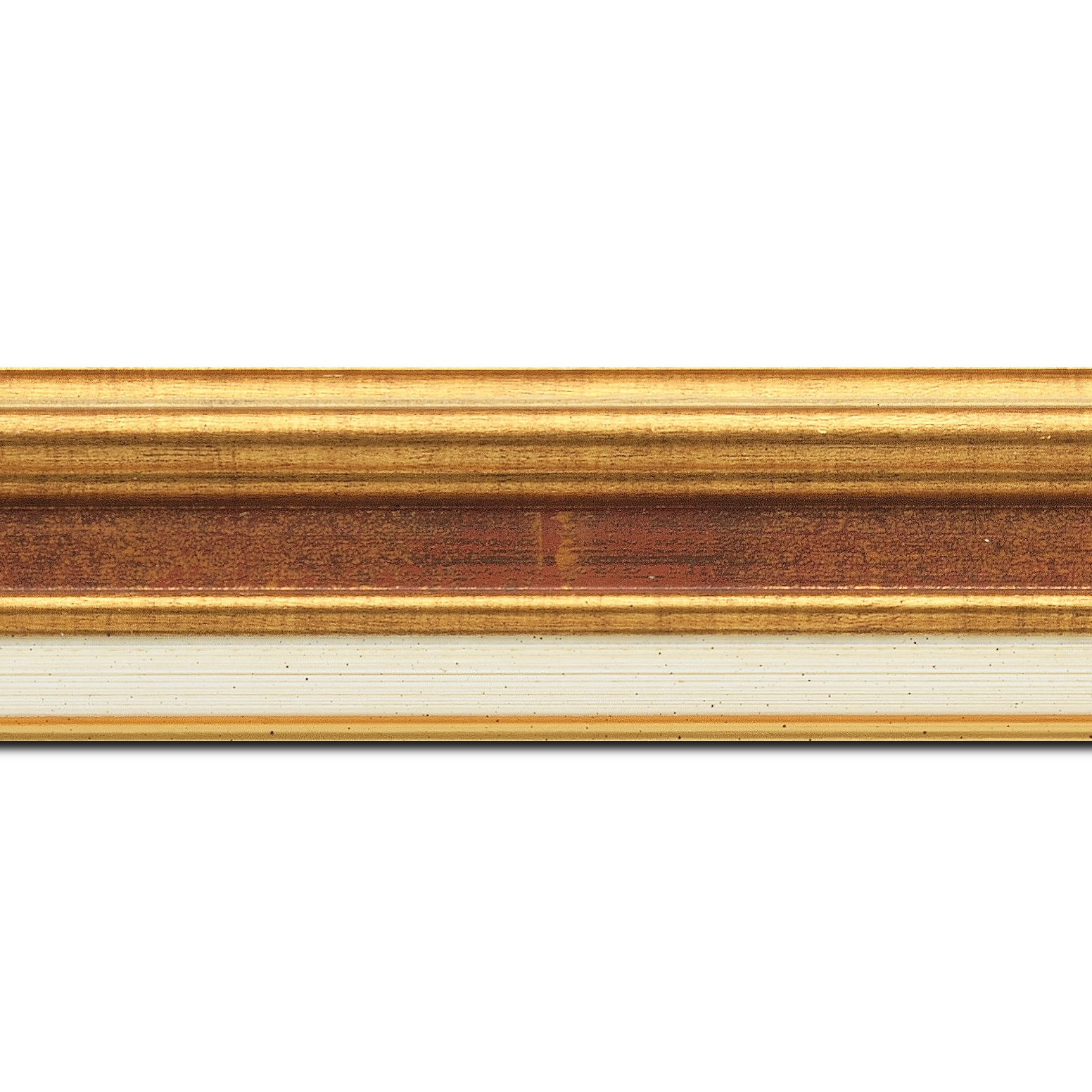Baguette longueur 1.40m bois largeur 5.2cm or gorge bordeaux fond or marie louise crème filet or intégrée