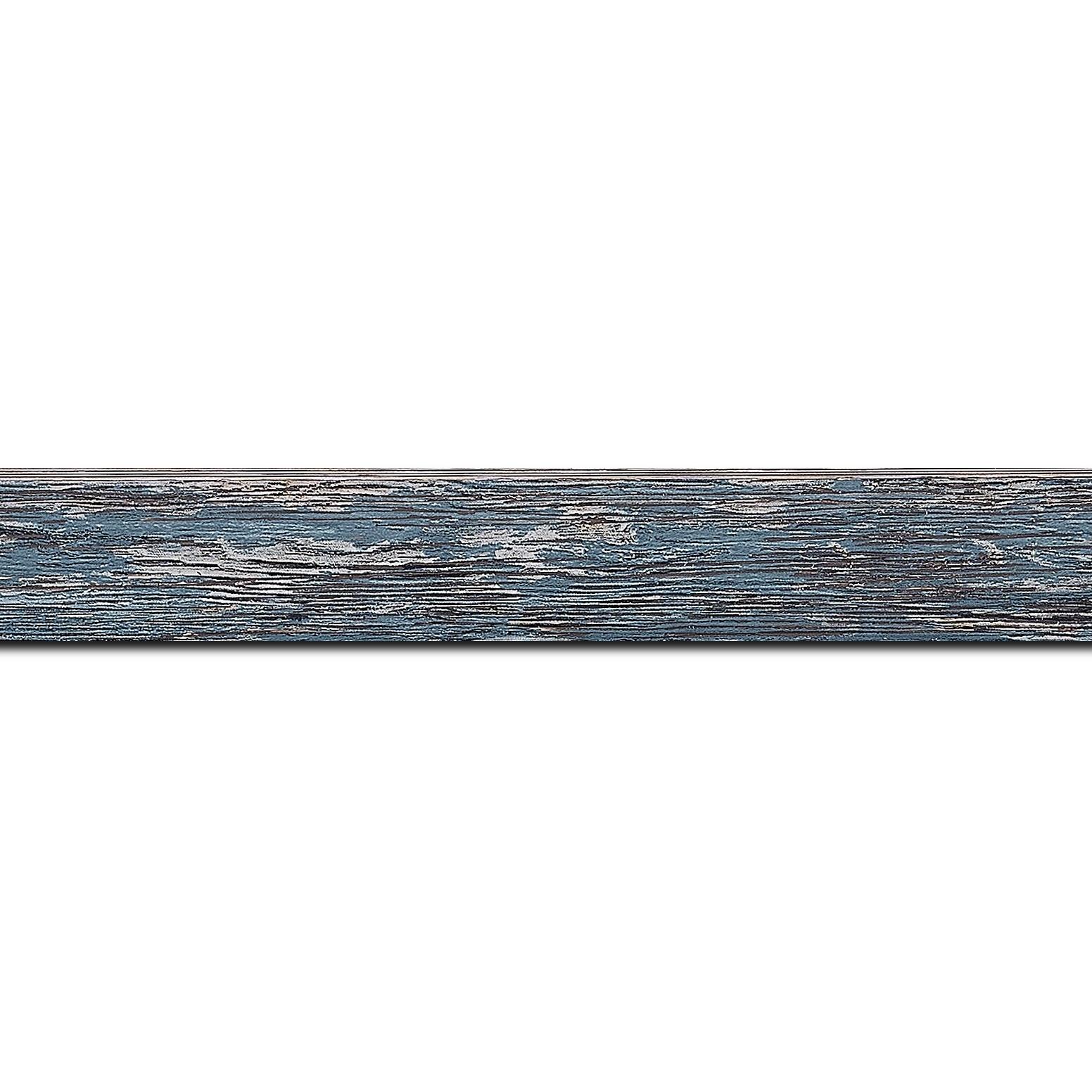 Baguette longueur 1.40m bois profil arrondi en pente plongeant largeur 2.4cm couleur bleu pétrole finition veinée, reflet argenté