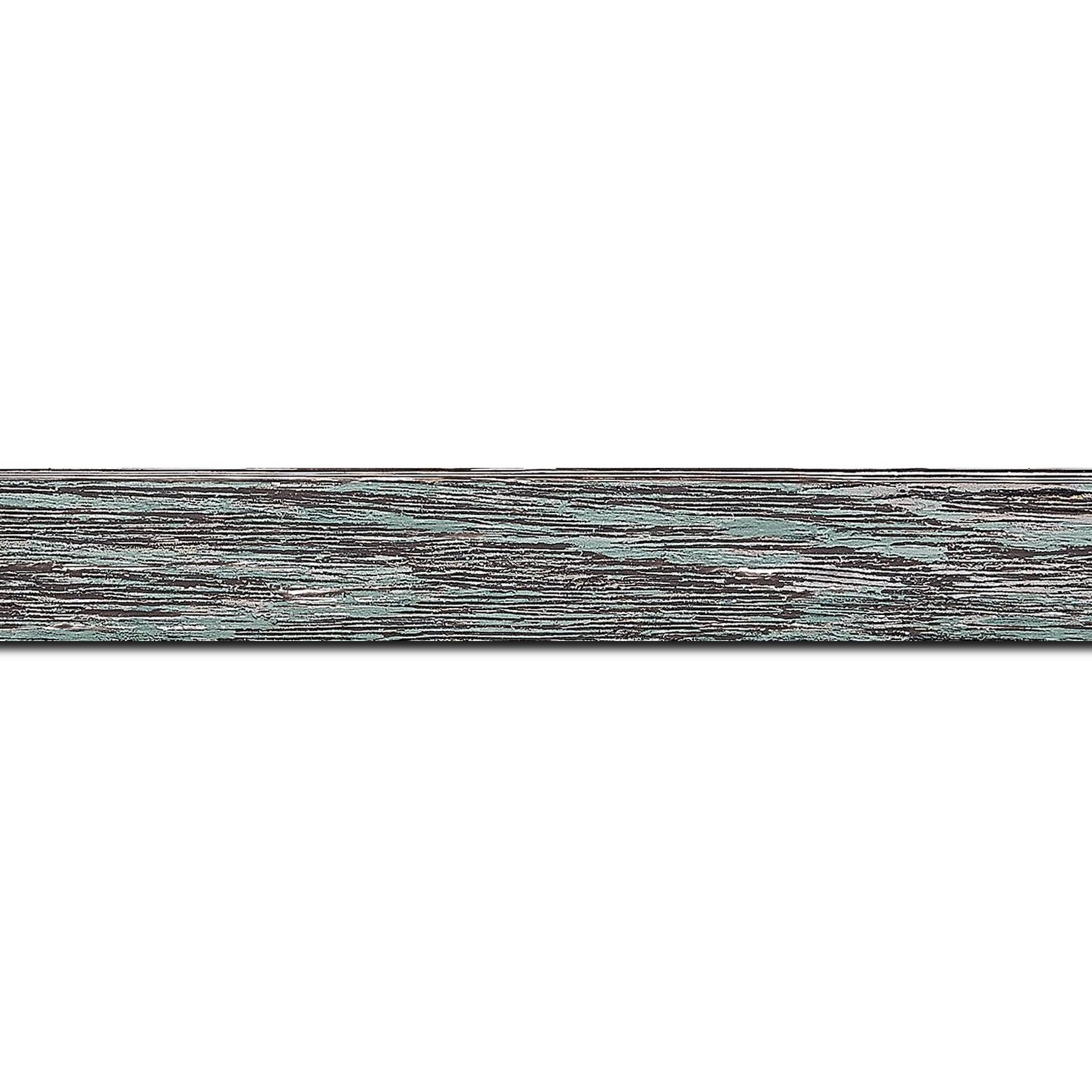 Baguette longueur 1.40m bois profil arrondi en pente plongeant largeur 2.4cm couleur vert d'eau finition veinée, reflet argenté