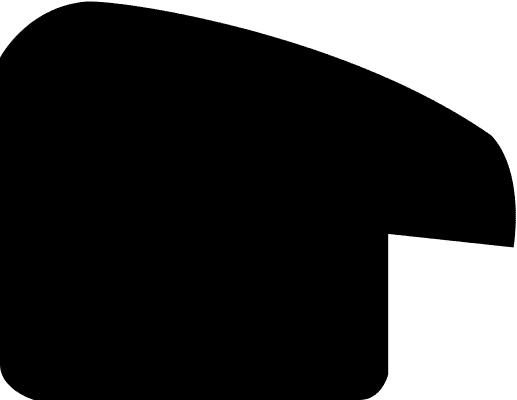 Baguette coupe droite bois profil arrondi en pente plongeant largeur 2.4cm couleur noir satiné,veine du bois  apparent (pin) , angle du cadre extérieur filet argent chromé