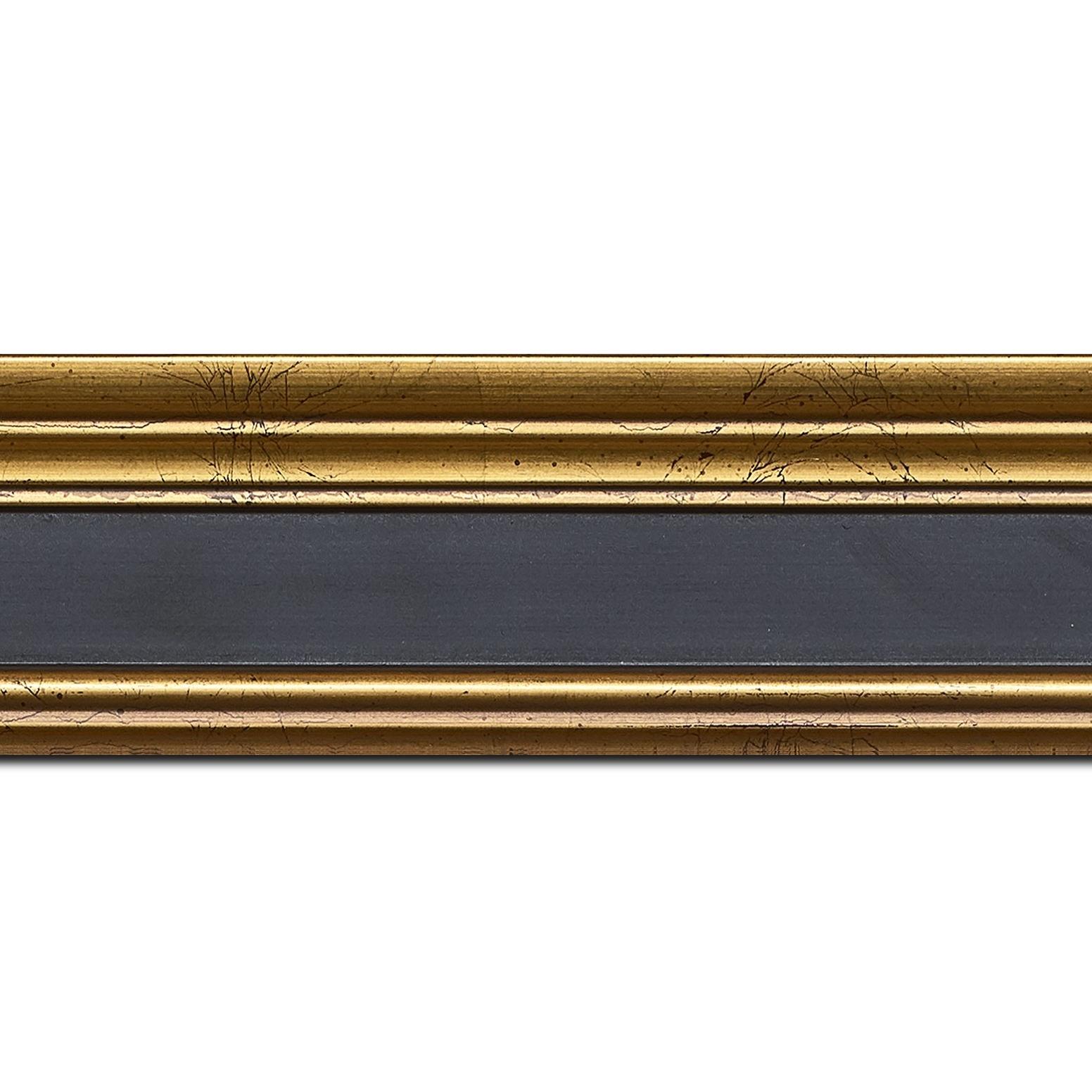 Baguette longueur 1.40m bois profil braque largeur 5.2cm or patiné gorge noire antique