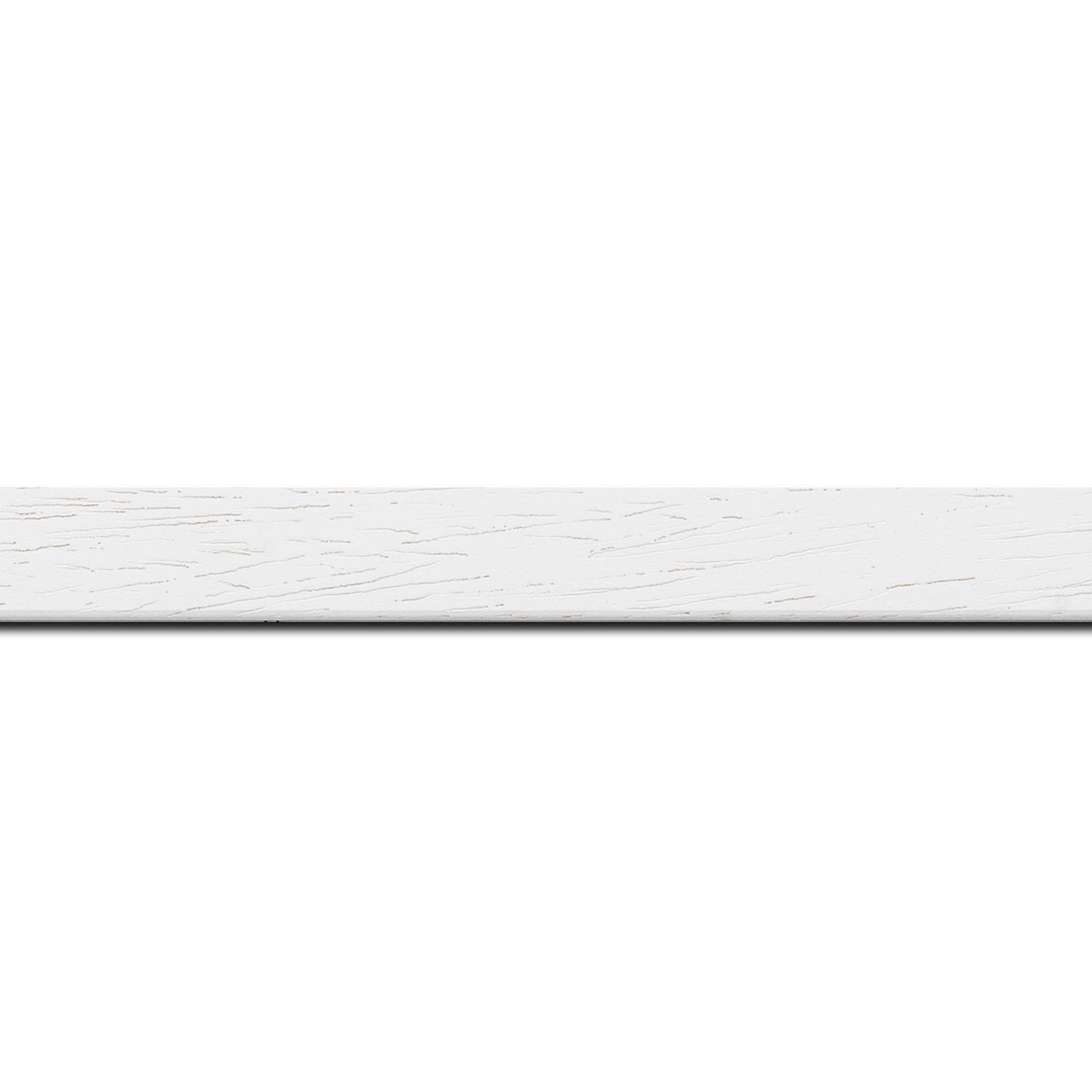 Pack par 12m, bois profil plat largeur 2cm couleur blanc satiné(longueur baguette pouvant varier entre 2.40m et 3m selon arrivage des bois)
