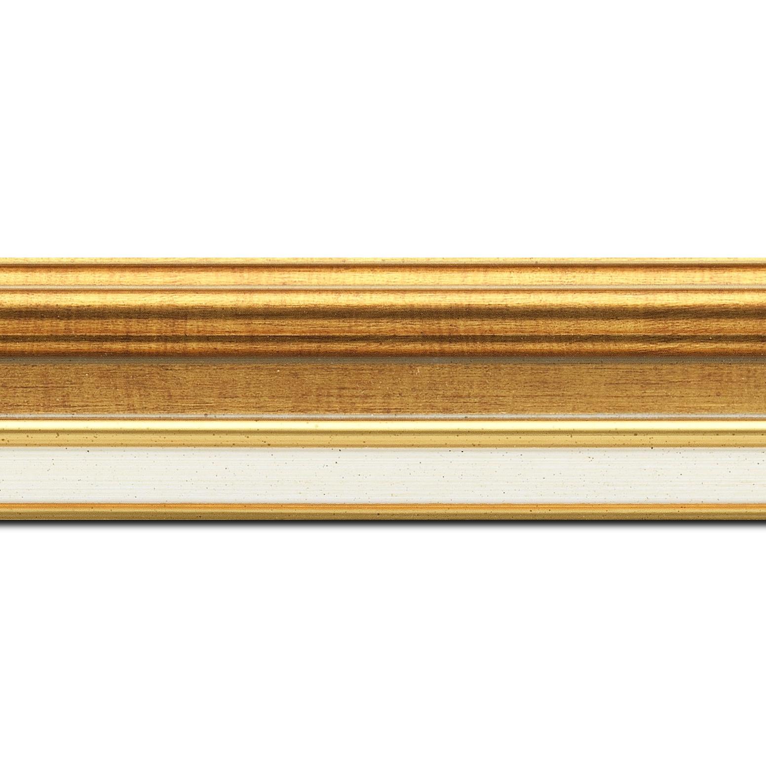 Baguette longueur 1.40m bois largeur 5.2cm or gorge or  marie louise crème filet or intégrée