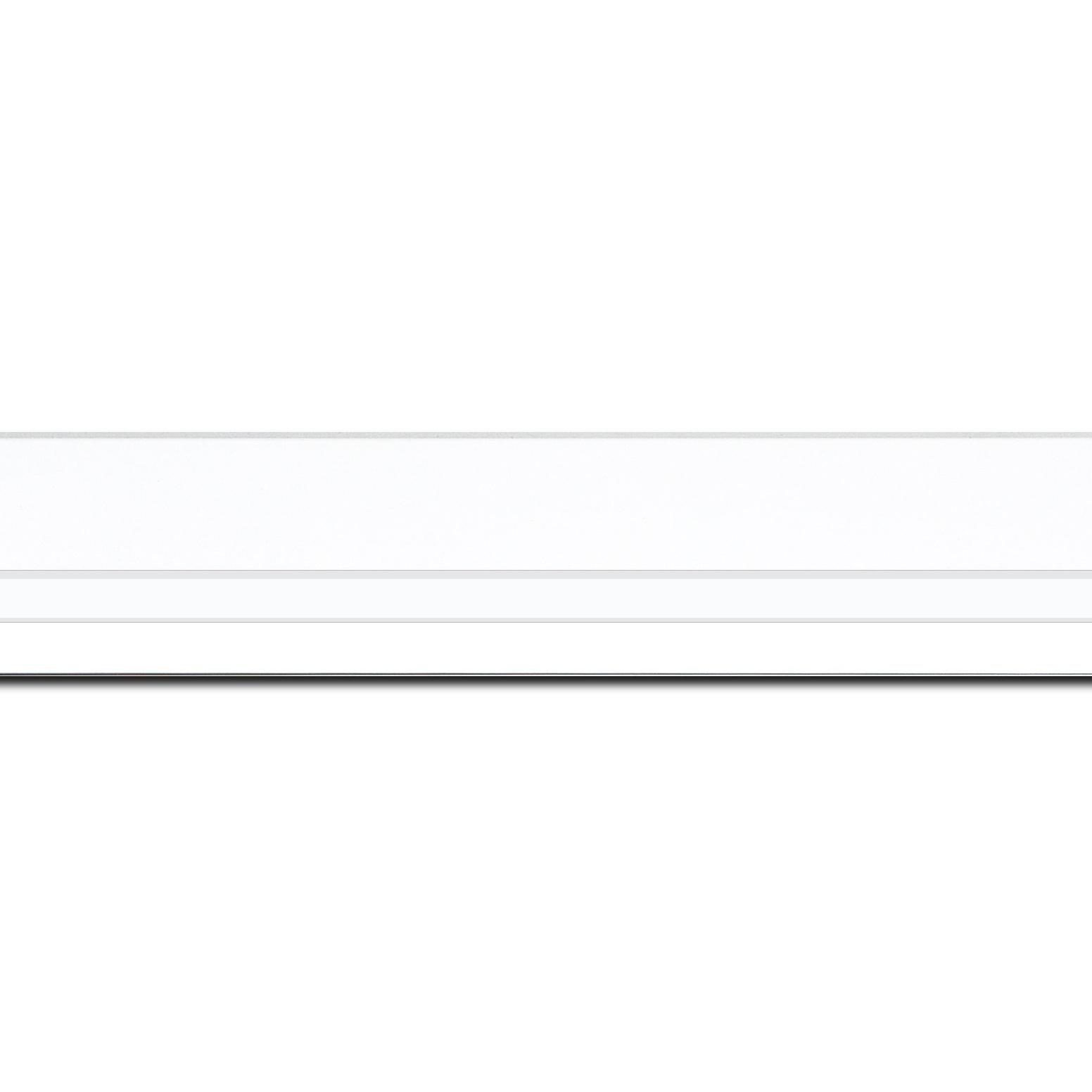 Baguette longueur 1.40m bois profil pente largeur 4.5cm de couleur blanc mat filet blanc