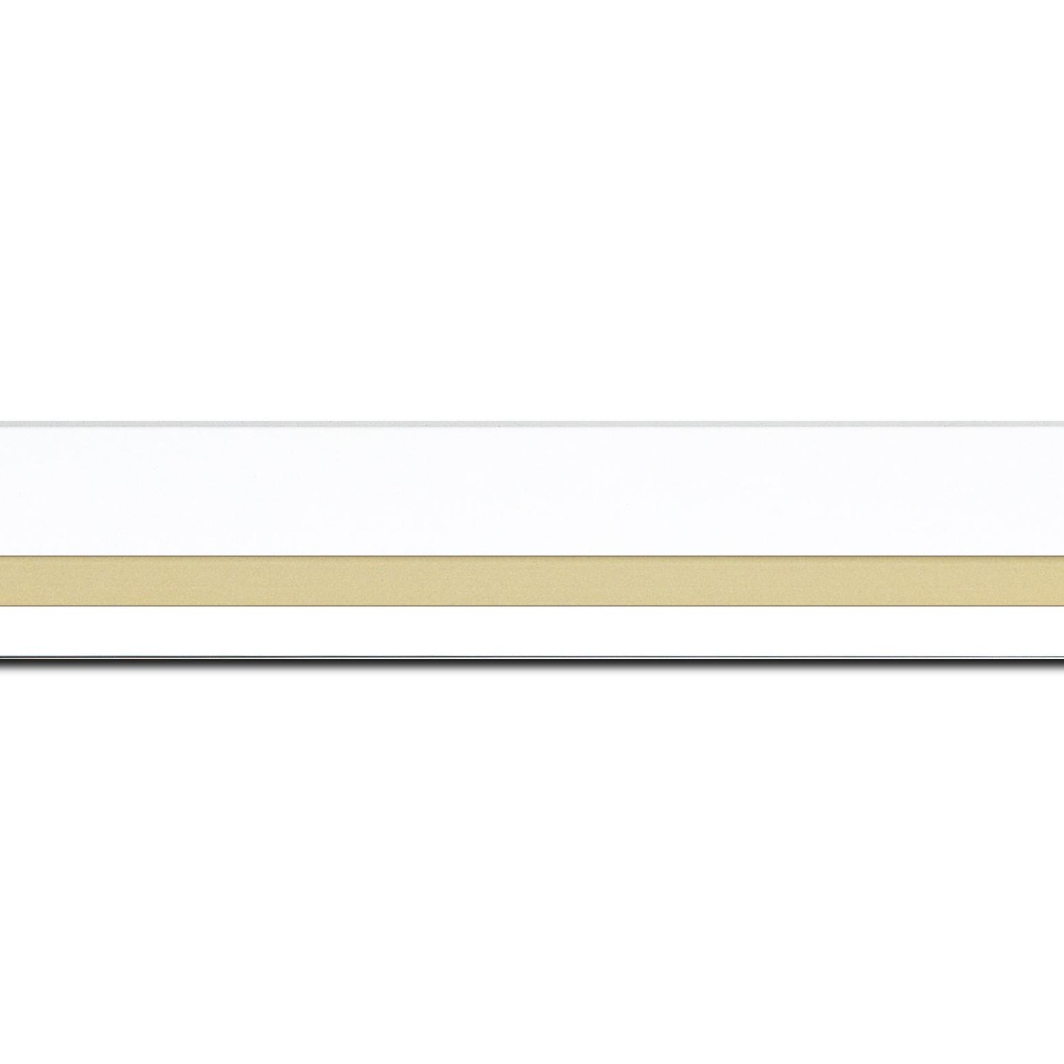 Baguette longueur 1.40m bois profil pente largeur 4.5cm de couleur blanc mat filet or