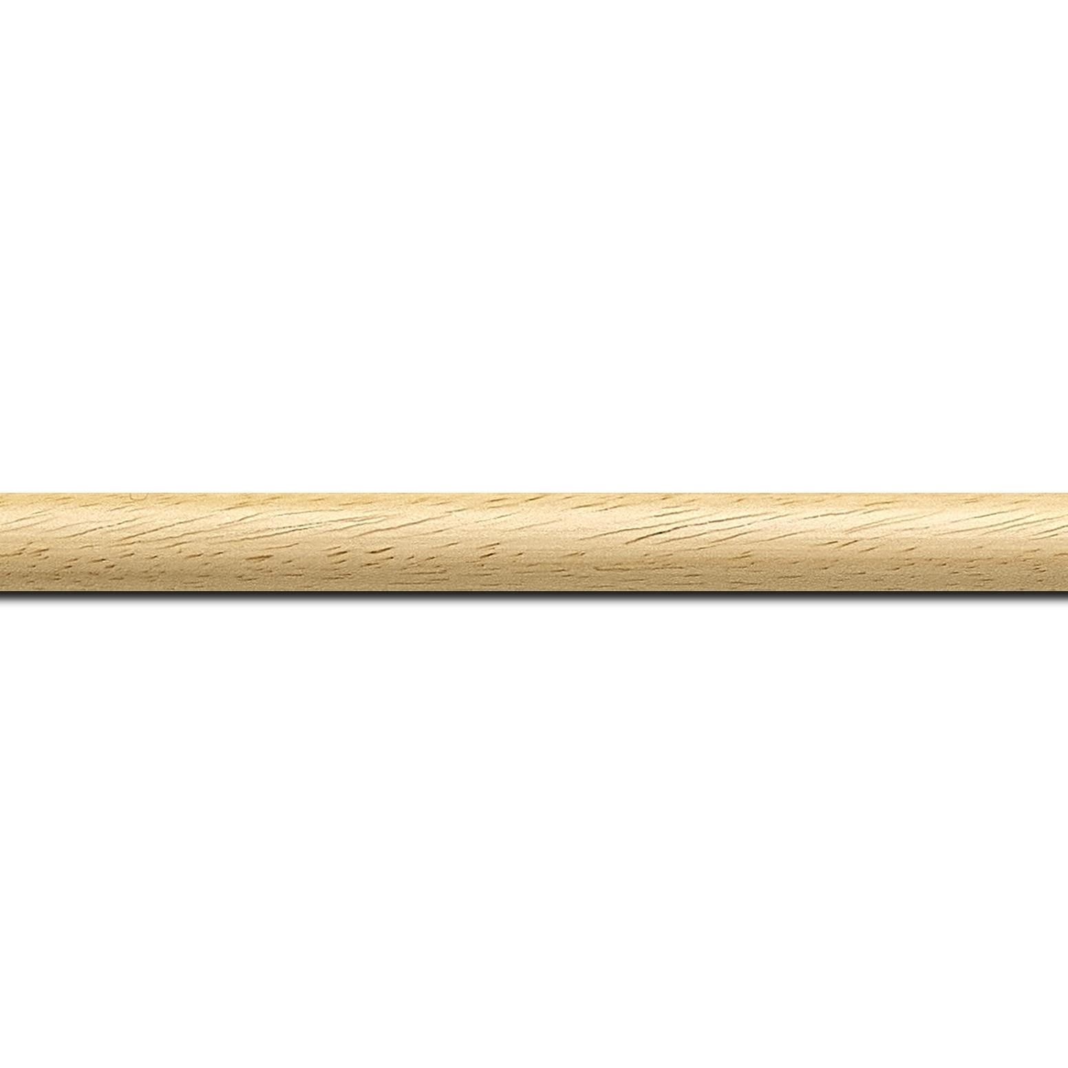 Pack par 12m, bois profil demi rond largeur 1.5cm couleur naturel satiné (longueur baguette pouvant varier entre 2.40m et 3m selon arrivage des bois)