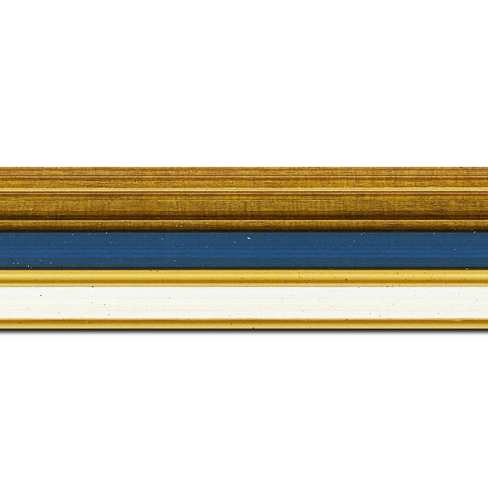 Baguette longueur 1.40m bois largeur 5.2cm or gorge bleue nuit  marie louise crème filet or intégrée
