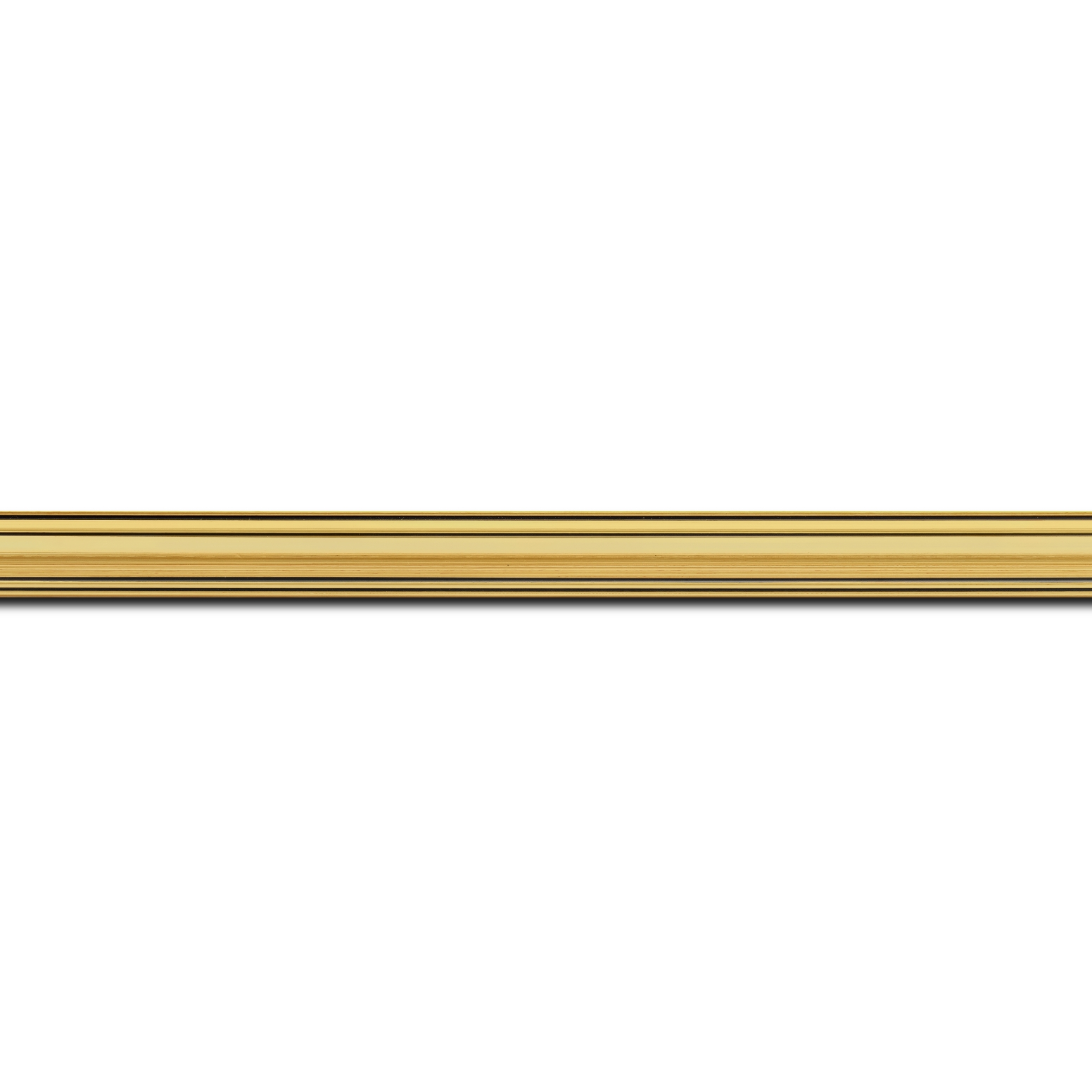 Baguette longueur 1.40m bois profil bombé largeur 5cm couleur or filet noir
