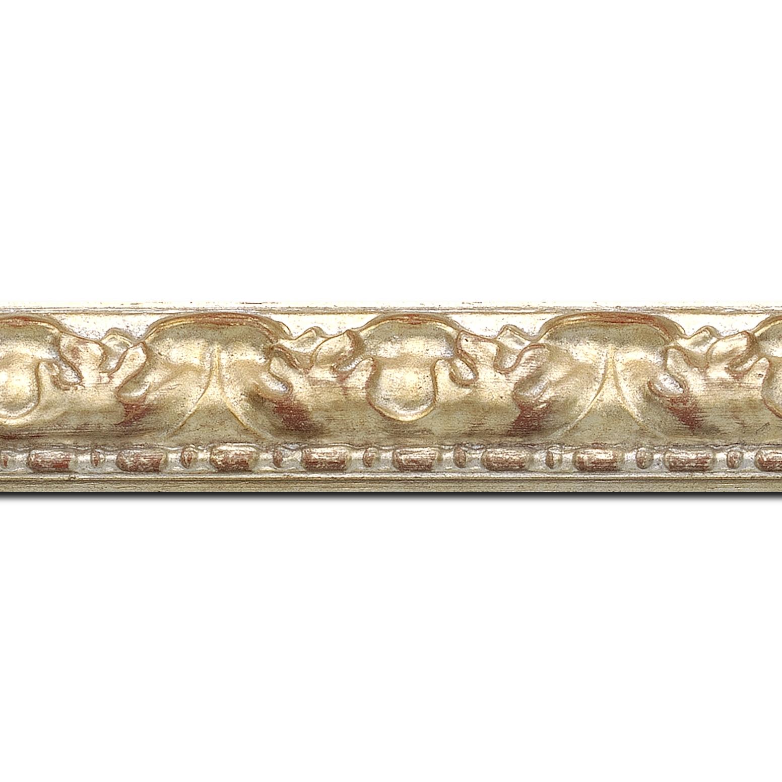Baguette longueur 1.40m bois profil bombé largeur 4cm couleur argent antique