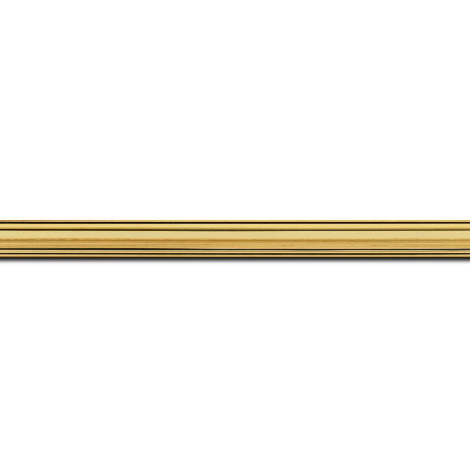 Pack par 12m, bois profil bombé largeur 5cm couleur or filet noir (longueur baguette pouvant varier entre 2.40m et 3m selon arrivage des bois)