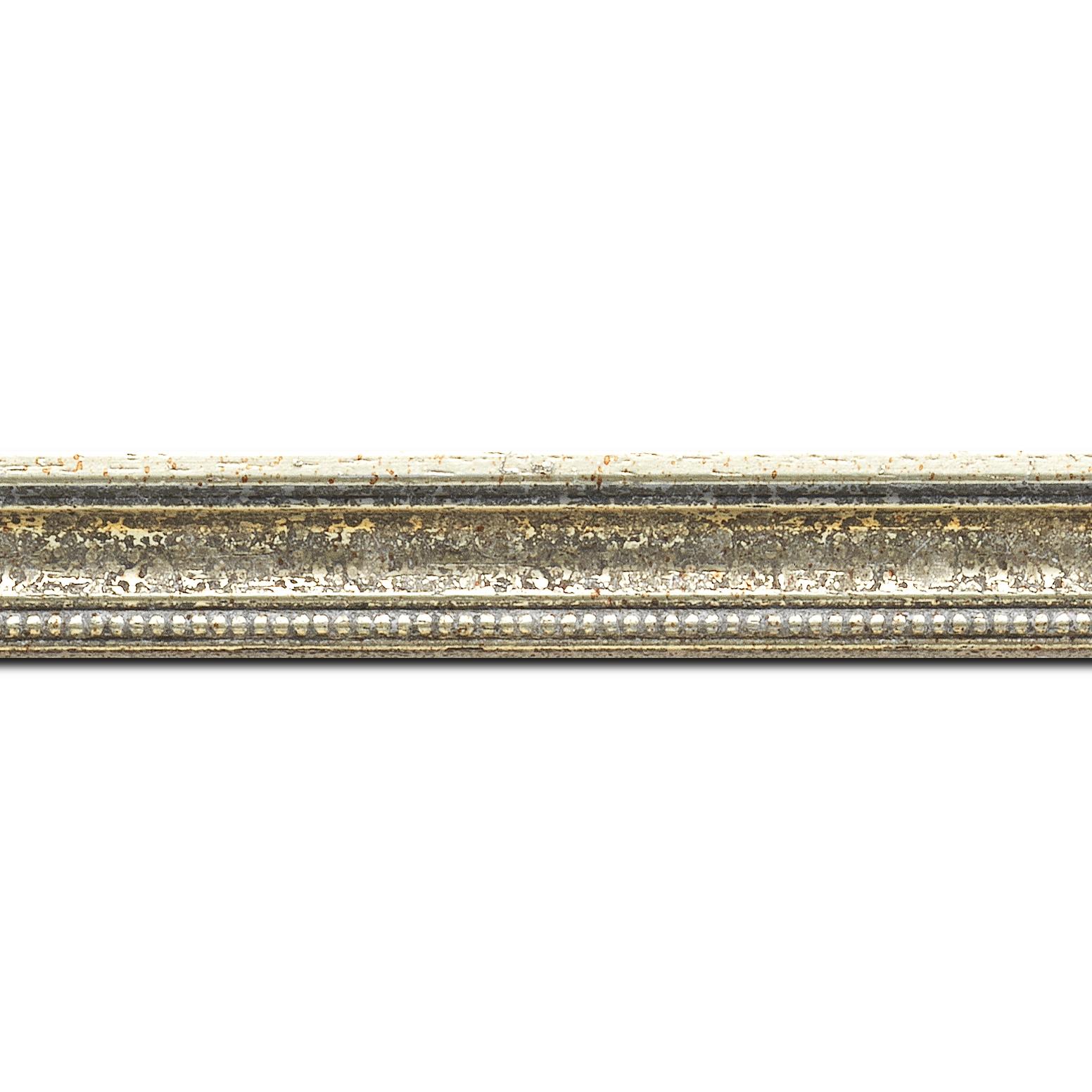 Pack par 12m, bois profil incuvé largeur 2.4cm argent antique gorge argent filet perle or(longueur baguette pouvant varier entre 2.40m et 3m selon arrivage des bois)