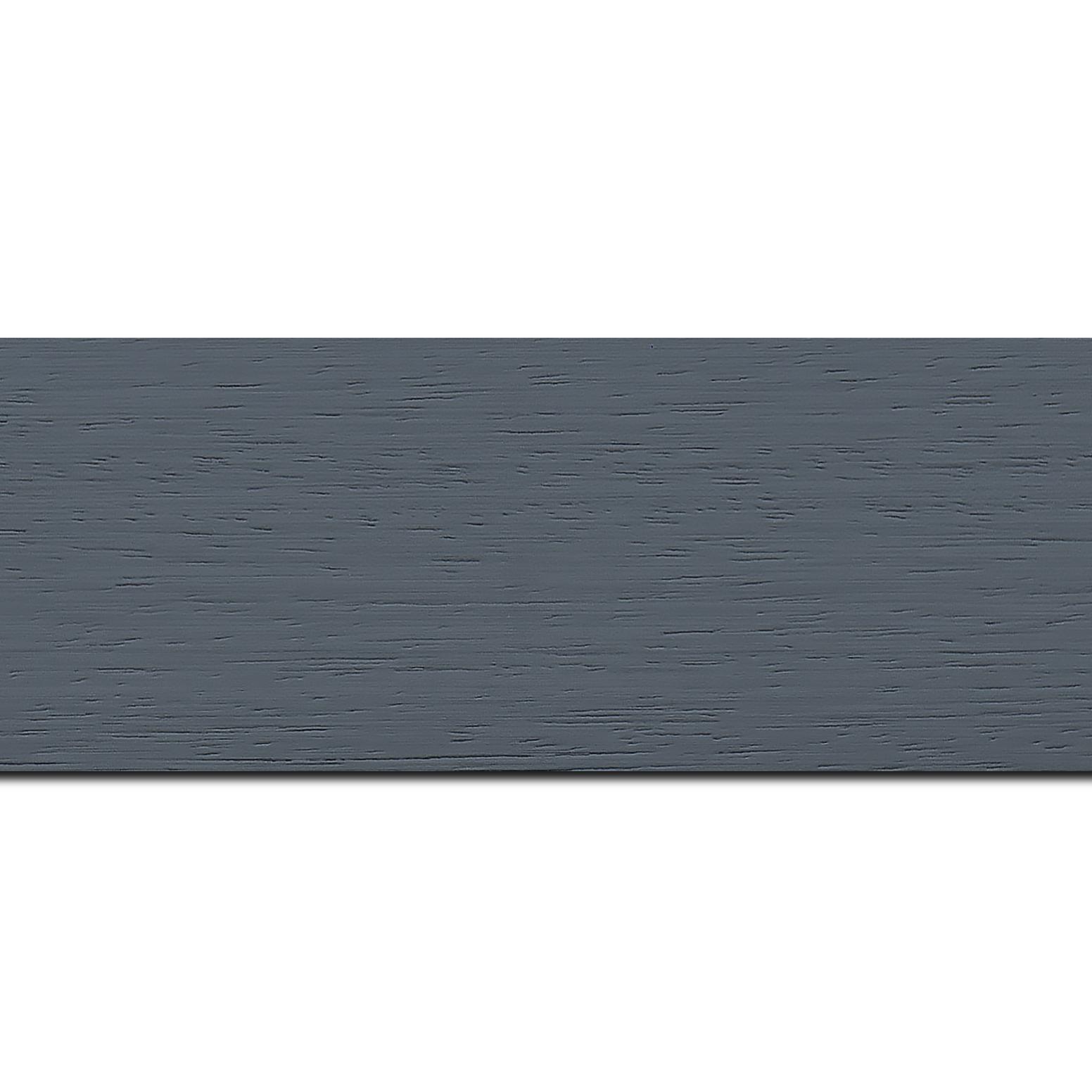 Pack par 12m, bois profil plat largeur 5.9cm couleur gris foncé satiné (longueur baguette pouvant varier entre 2.40m et 3m selon arrivage des bois)