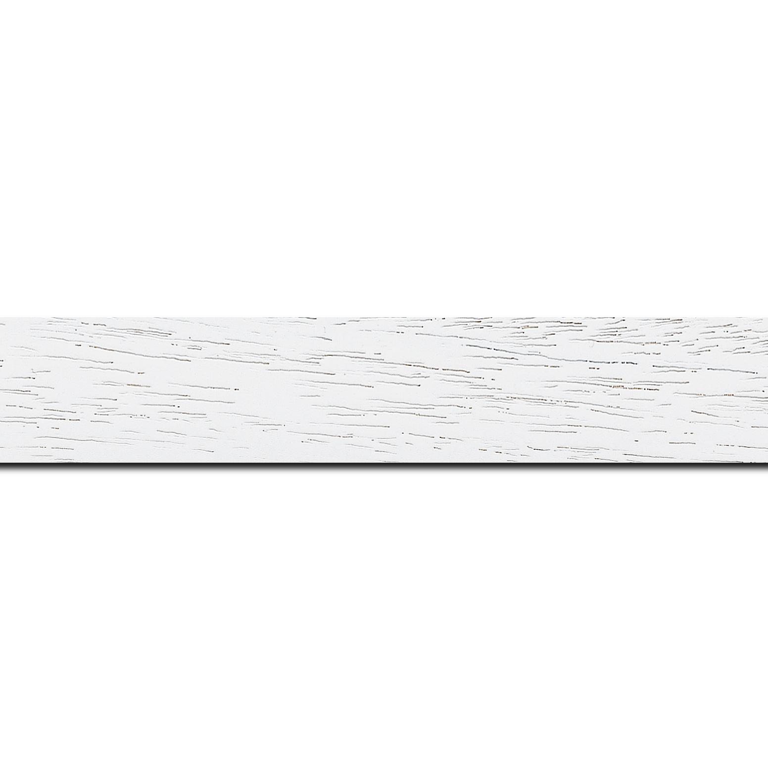 Pack par 12m, bois profil plat largeur 3cm couleur blanc satiné (longueur baguette pouvant varier entre 2.40m et 3m selon arrivage des bois)