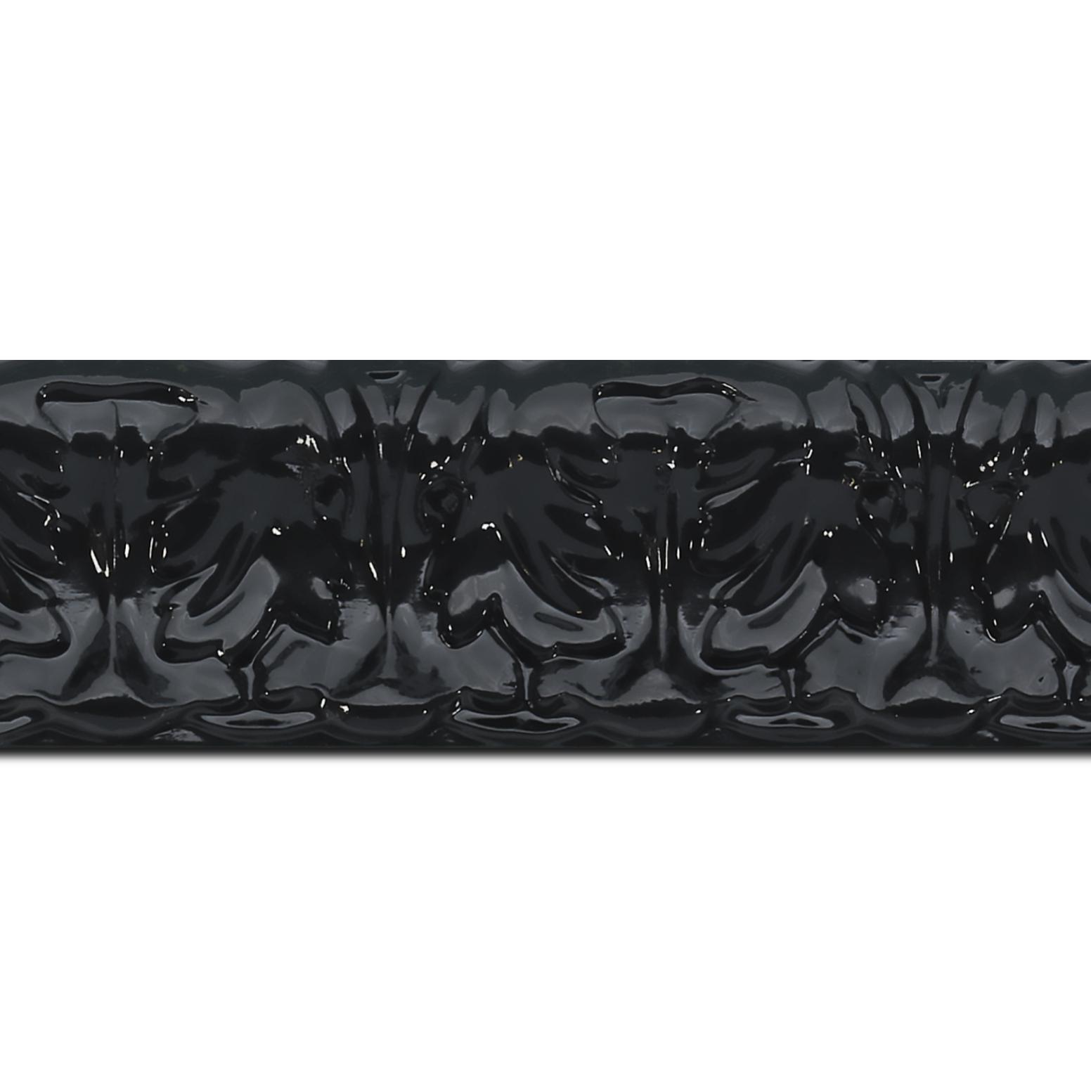 Pack par 12m, bois profil incurvé largeur 5.3cm couleur noir laqué style baroque (longueur baguette pouvant varier entre 2.40m et 3m selon arrivage des bois)
