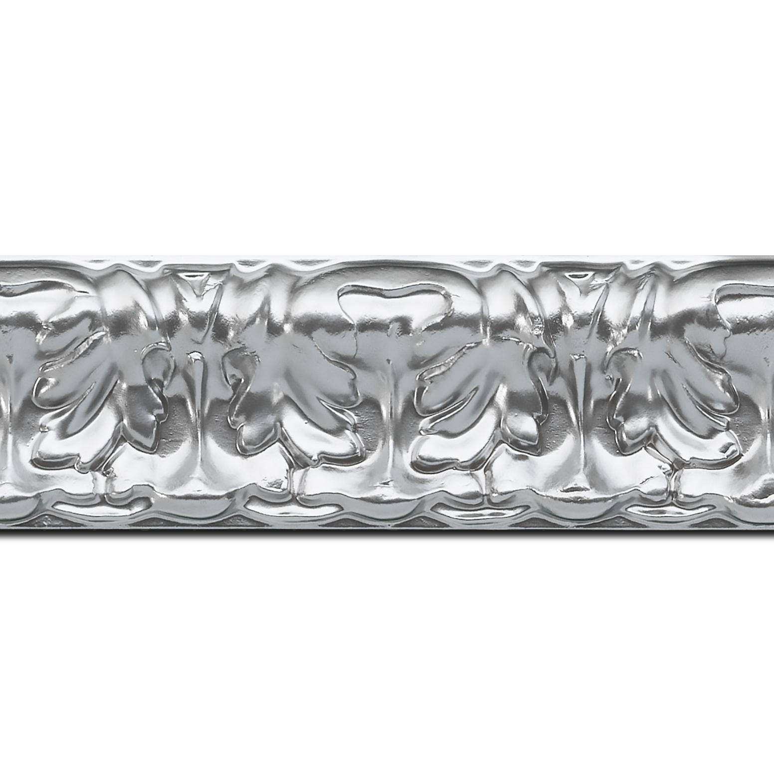 Pack par 12m, bois profil incurvé largeur 5.3cm couleur argent ckromé  style baroque (longueur baguette pouvant varier entre 2.40m et 3m selon arrivage des bois)