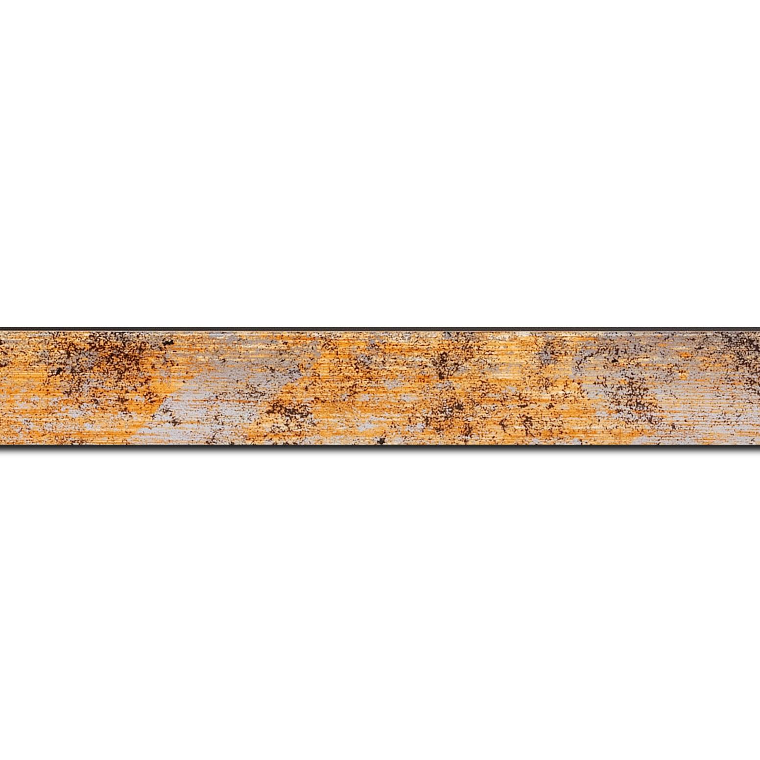 Pack par 12m, bois profil concave largeur 2.4cm de couleur orange moucheté fond argent (longueur baguette pouvant varier entre 2.40m et 3m selon arrivage des bois)