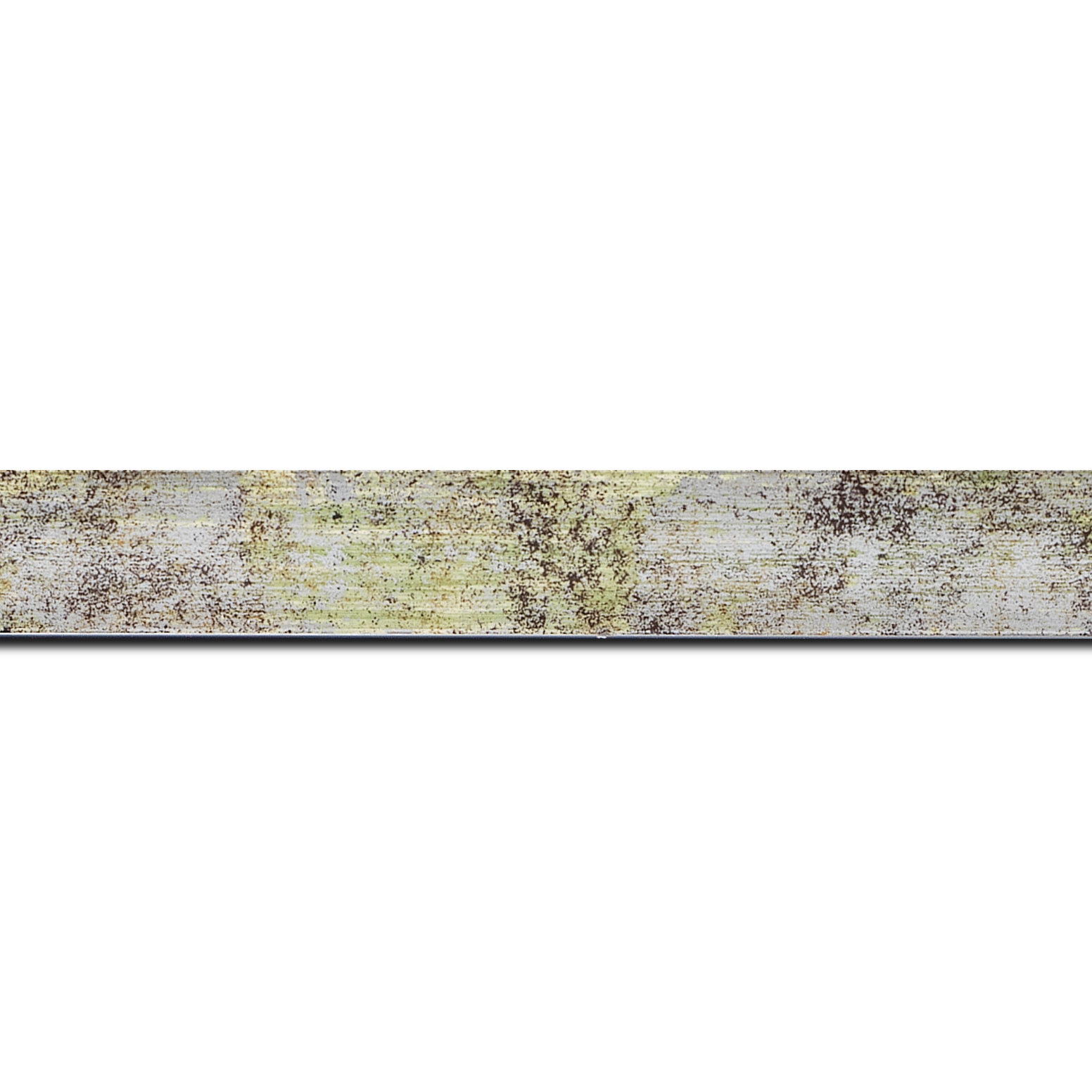 Baguette longueur 1.40m bois profil concave largeur 2.4cm de couleur vert moucheté fond argent