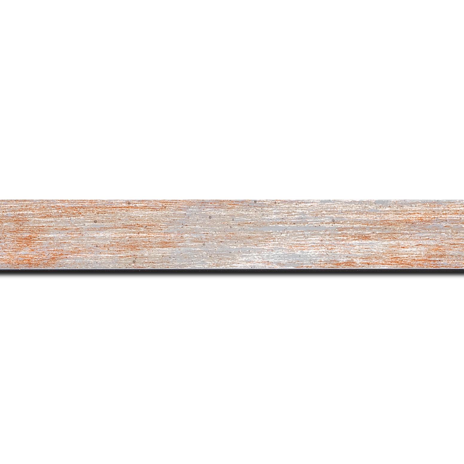 Baguette longueur 1.40m bois profil concave largeur 2.4cm de couleur rouge pale fond argent