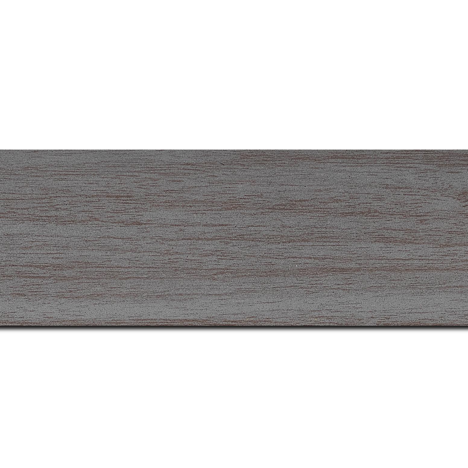 Pack par 12m, bois profil plat largeur 6cm gris satiné effet veiné ,chant extérieur du cadre de couleur noire(longueur baguette pouvant varier entre 2.40m et 3m selon arrivage des bois)