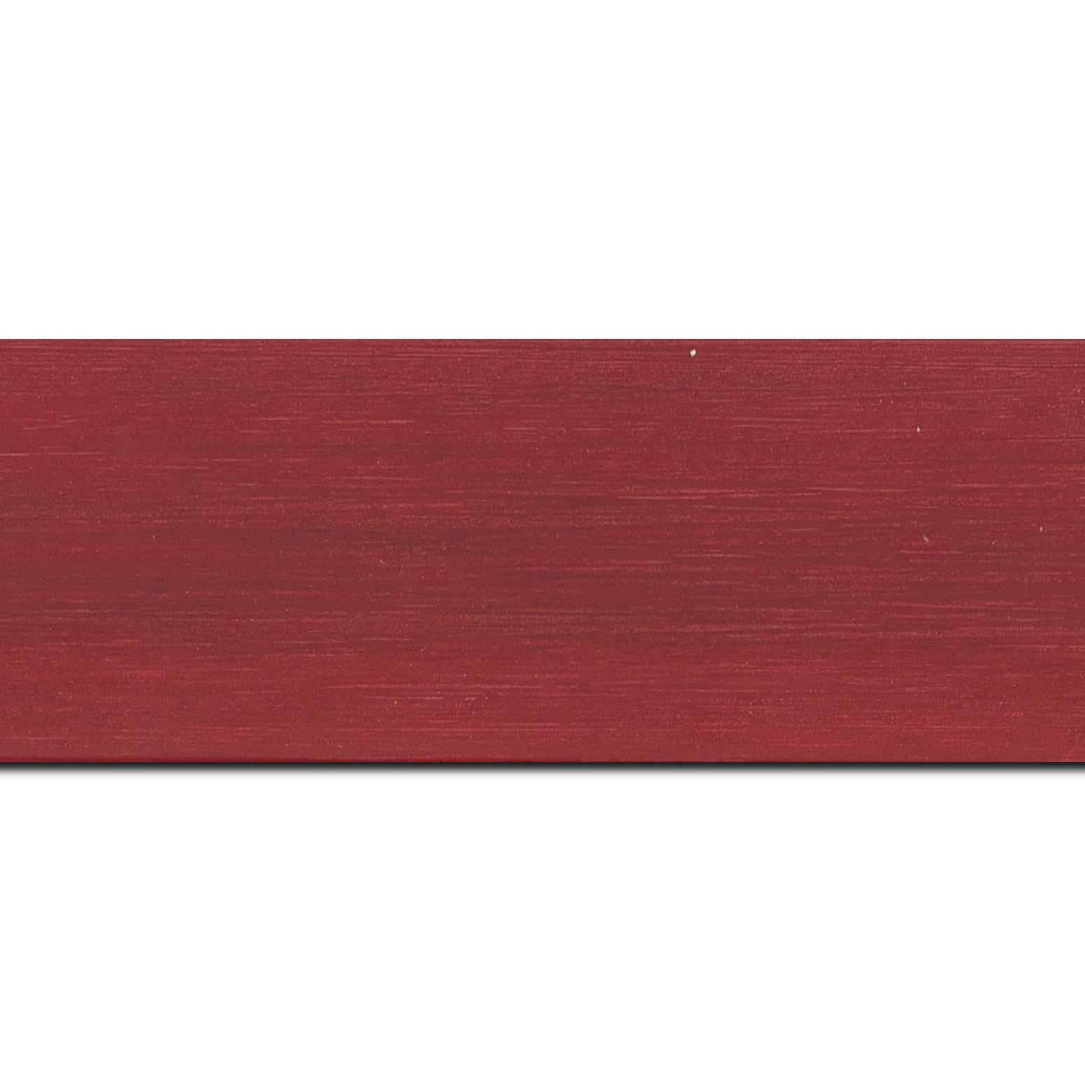 Baguette longueur 1.40m bois profil plat largeur 6cm bordeaux satiné effet veiné ,chant extérieur du cadre de couleur noire