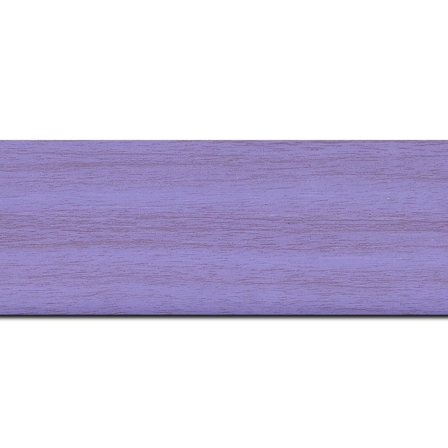 Baguette longueur 1.40m bois profil plat largeur 6cm violet satiné effet veiné ,chant extérieur du cadre de couleur noire
